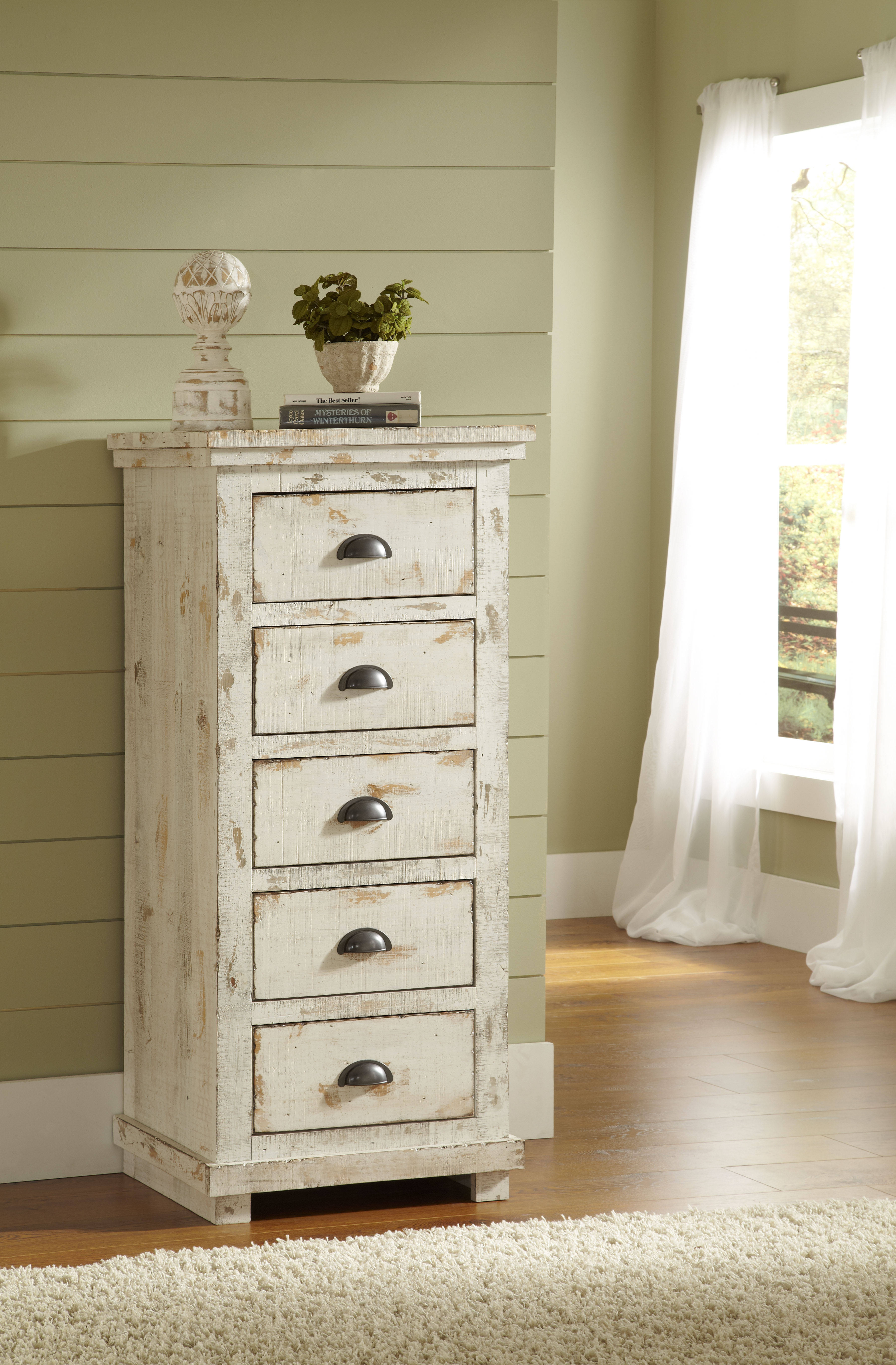 Willow Distressed White Slat Bedroom Set: Willow Casual Distressed White Solid Wood MDF Lingerie