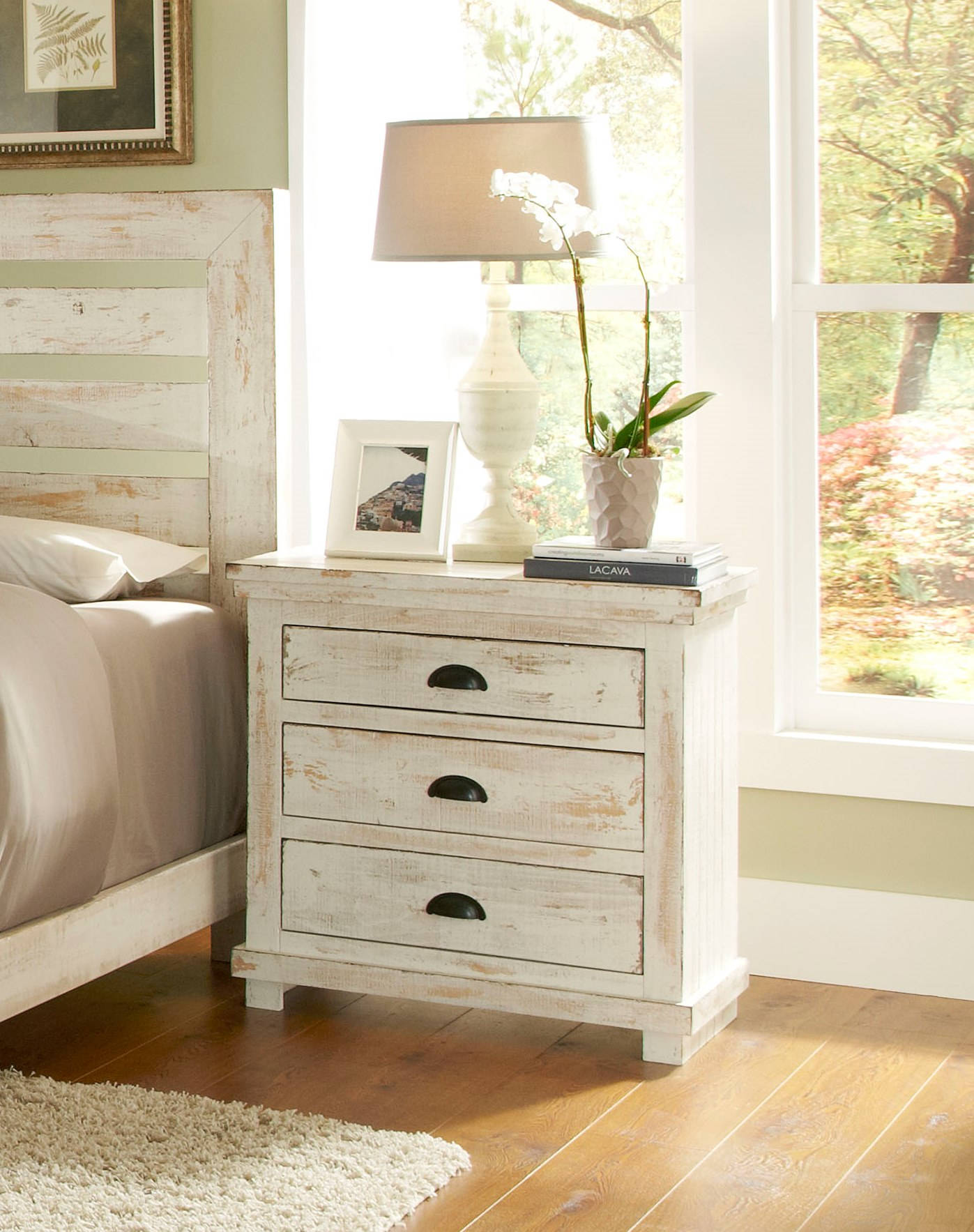 Progressive Furniture Willow Distressed White Nightstand The