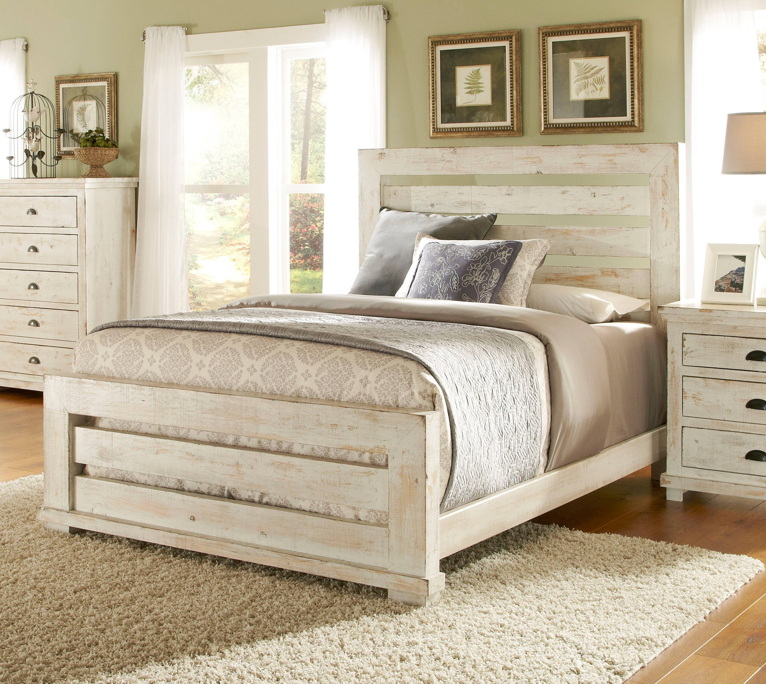 Progressive furniture willow distressed white queen slat bed click to enlarge