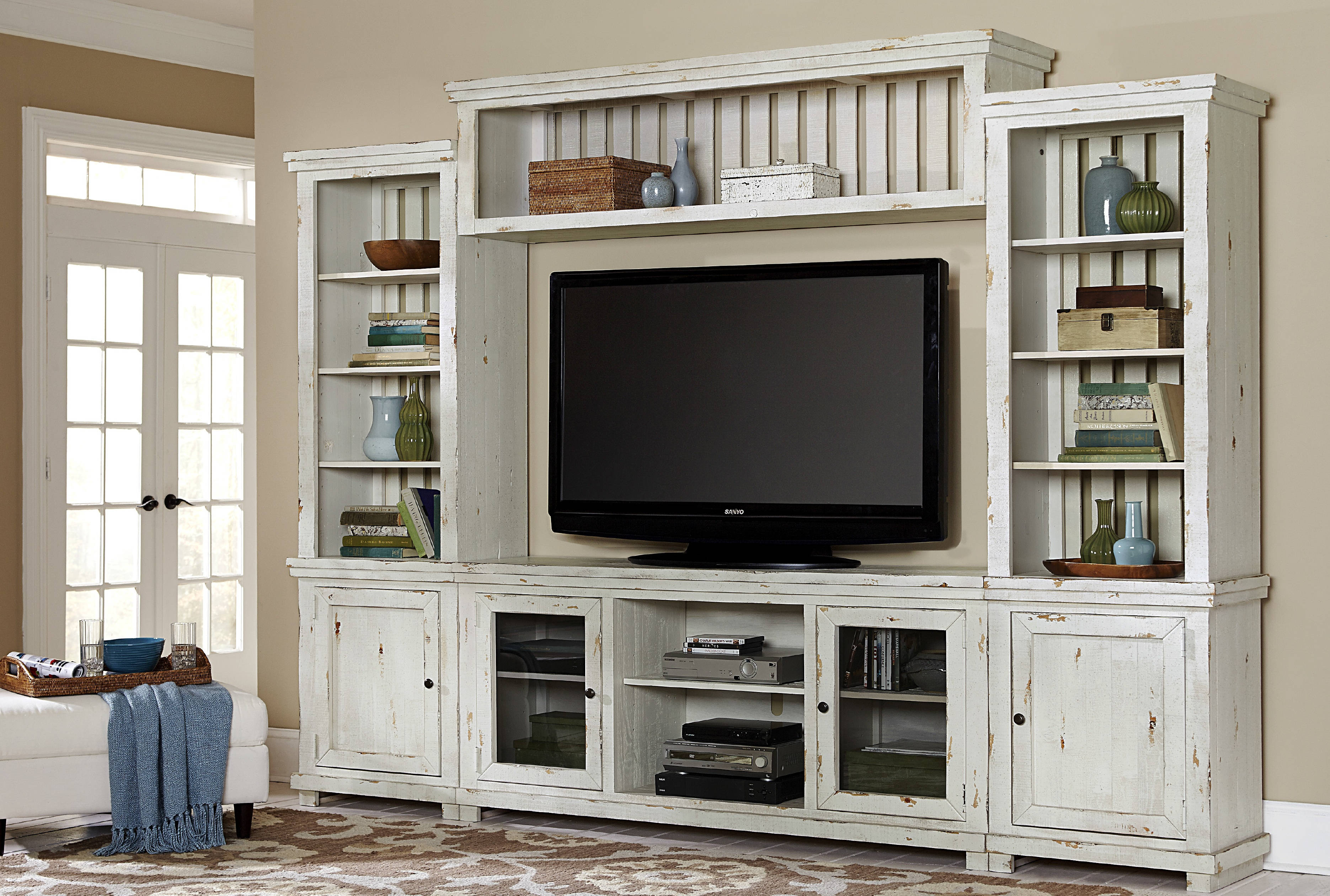 Progressive Furniture Willow Distressed White Wall Unit with TV ...