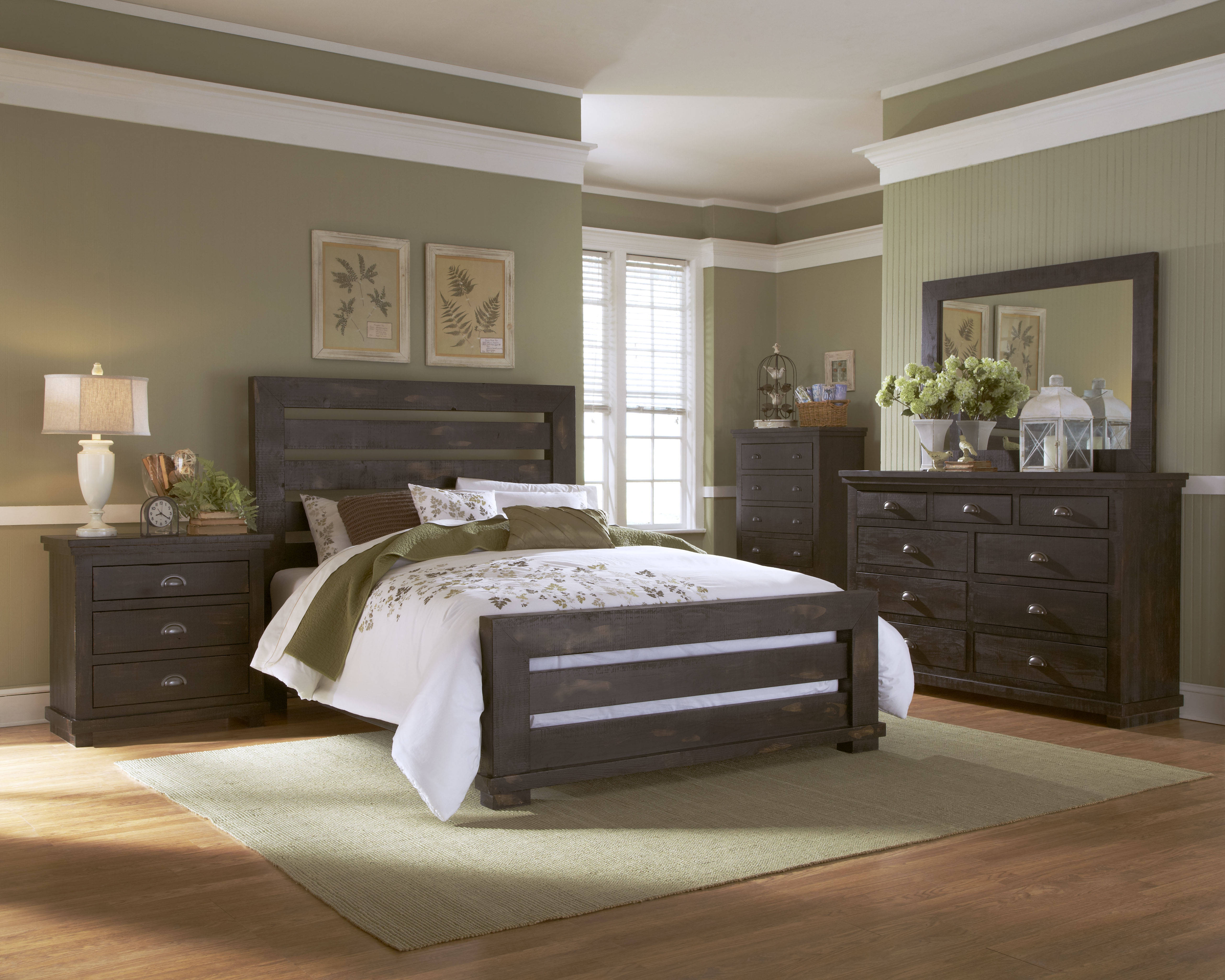Progressive furniture willow distressed black 2pc bedroom set with king slat bed
