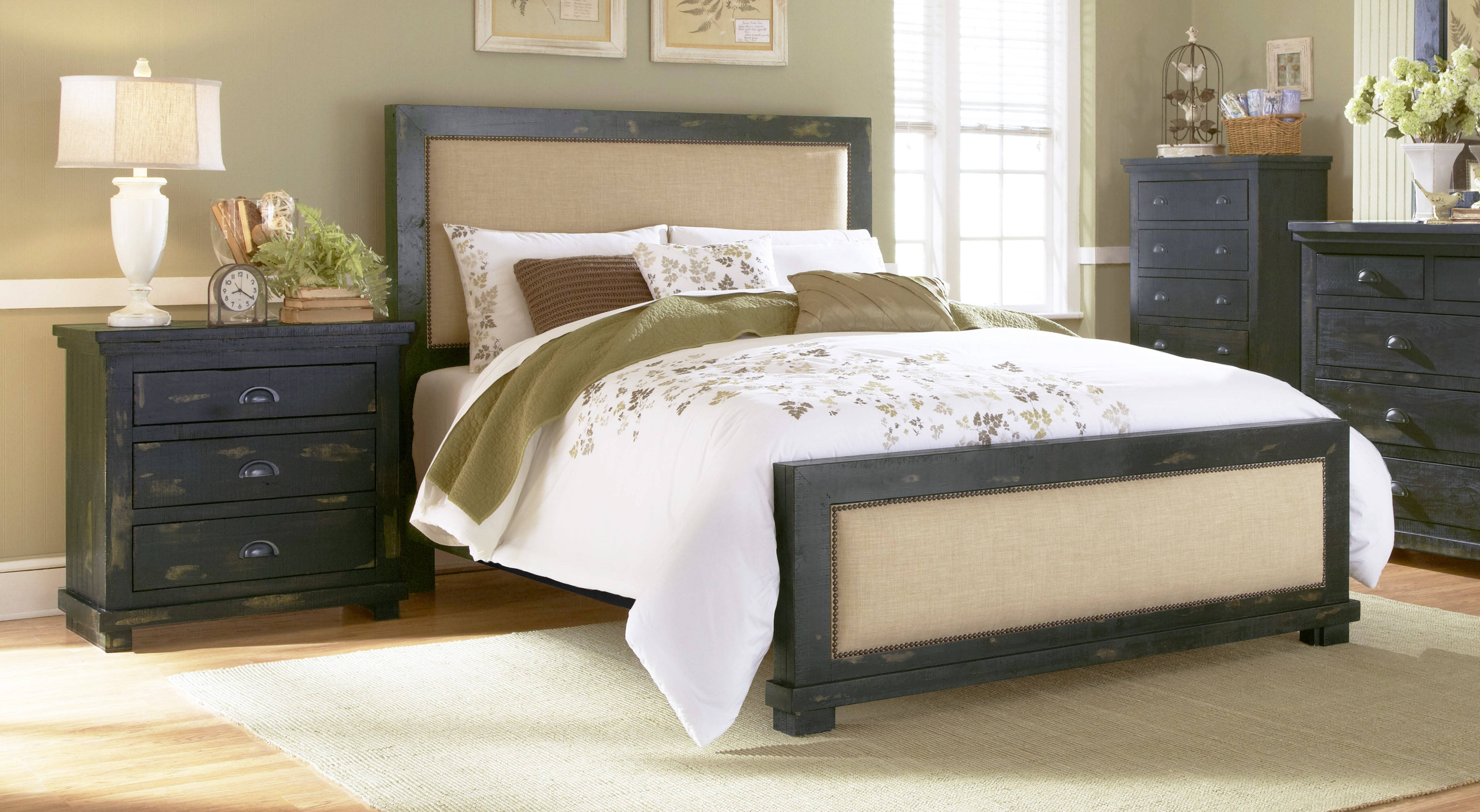 Progressive Furniture Willow Distressed Black 2pc Bedroom Set with King  Upholstered Bed