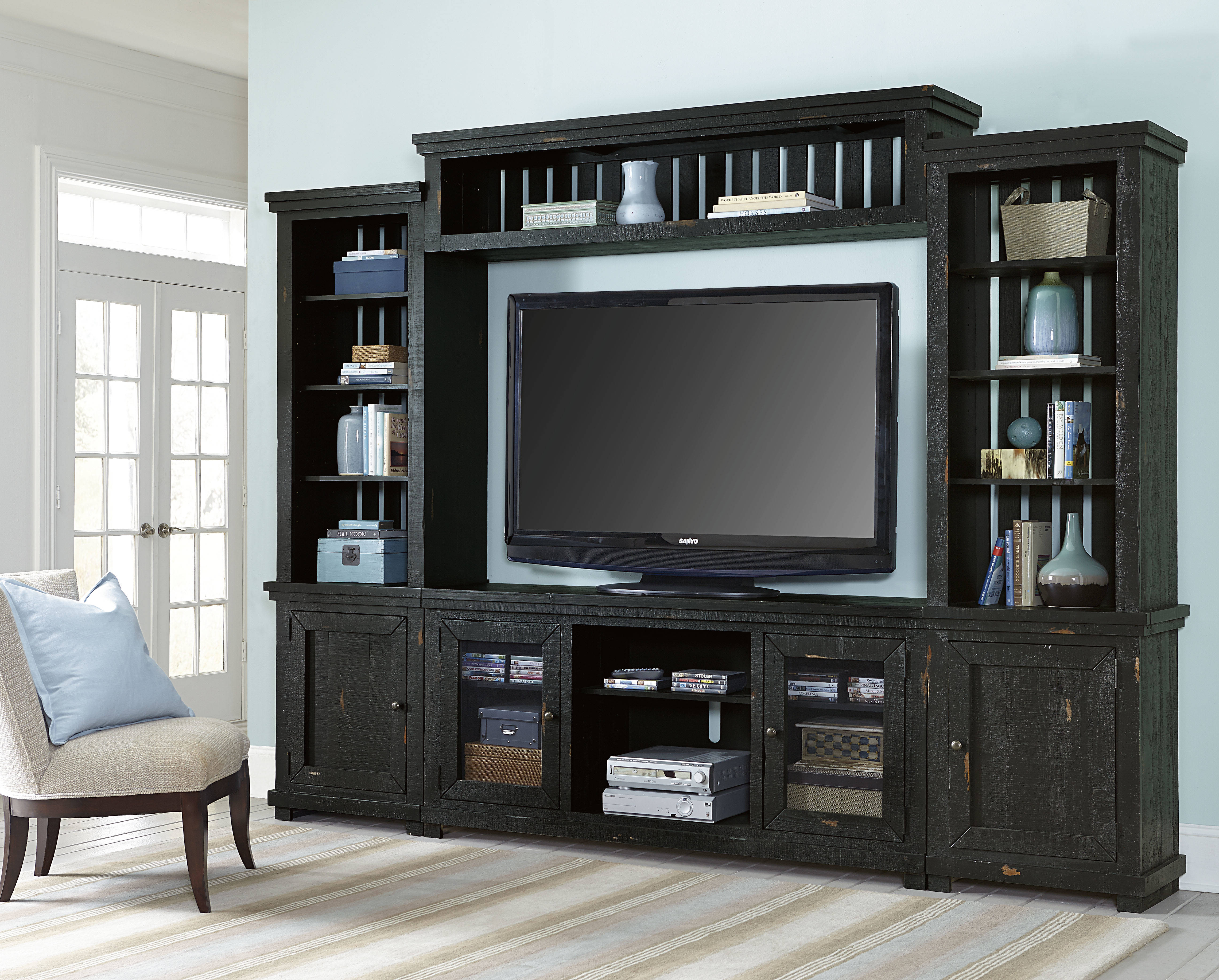 Progressive Furniture Willow Distressed Black Wall Unit with TV Stand