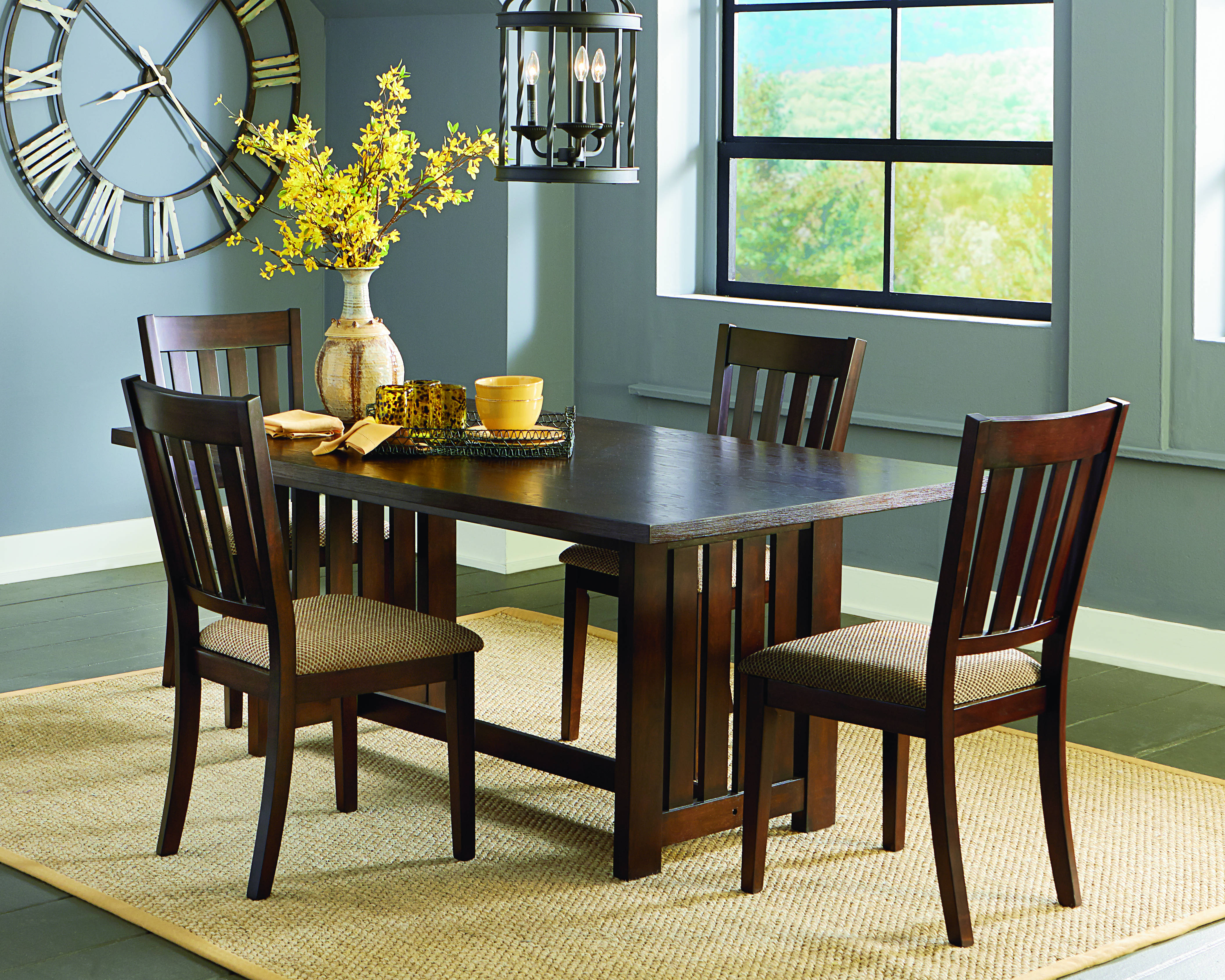 kennedy transitional bruno brown rubberwood 5pc dining room set the classy home. Black Bedroom Furniture Sets. Home Design Ideas