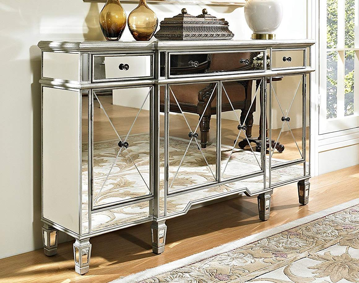 Powell furniture 3 drawers mirrored console click to enlarge