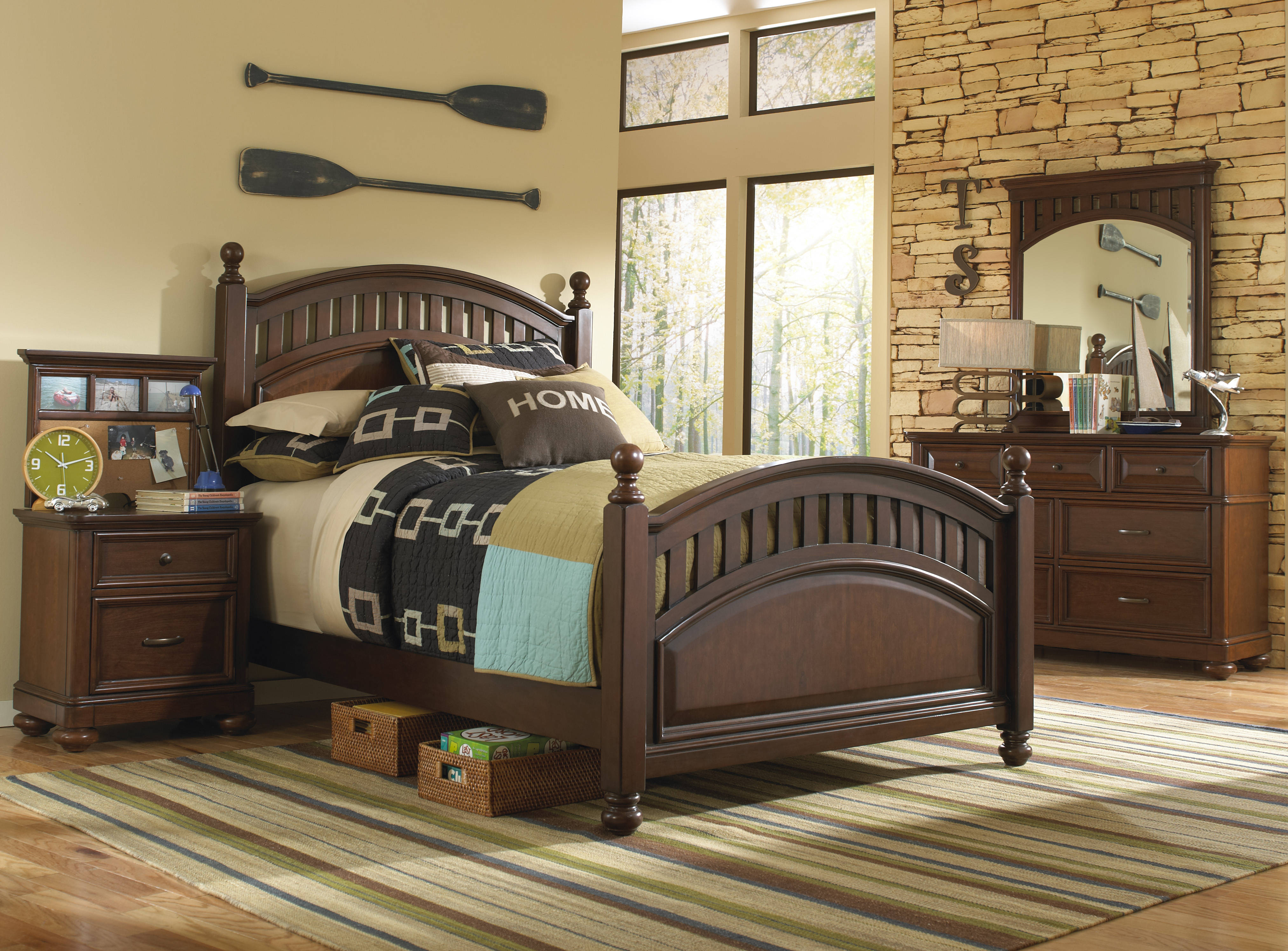 Home Meridian Expedition Brown 2pc Bedroom Set With Twin Poster Bed The Classy Home