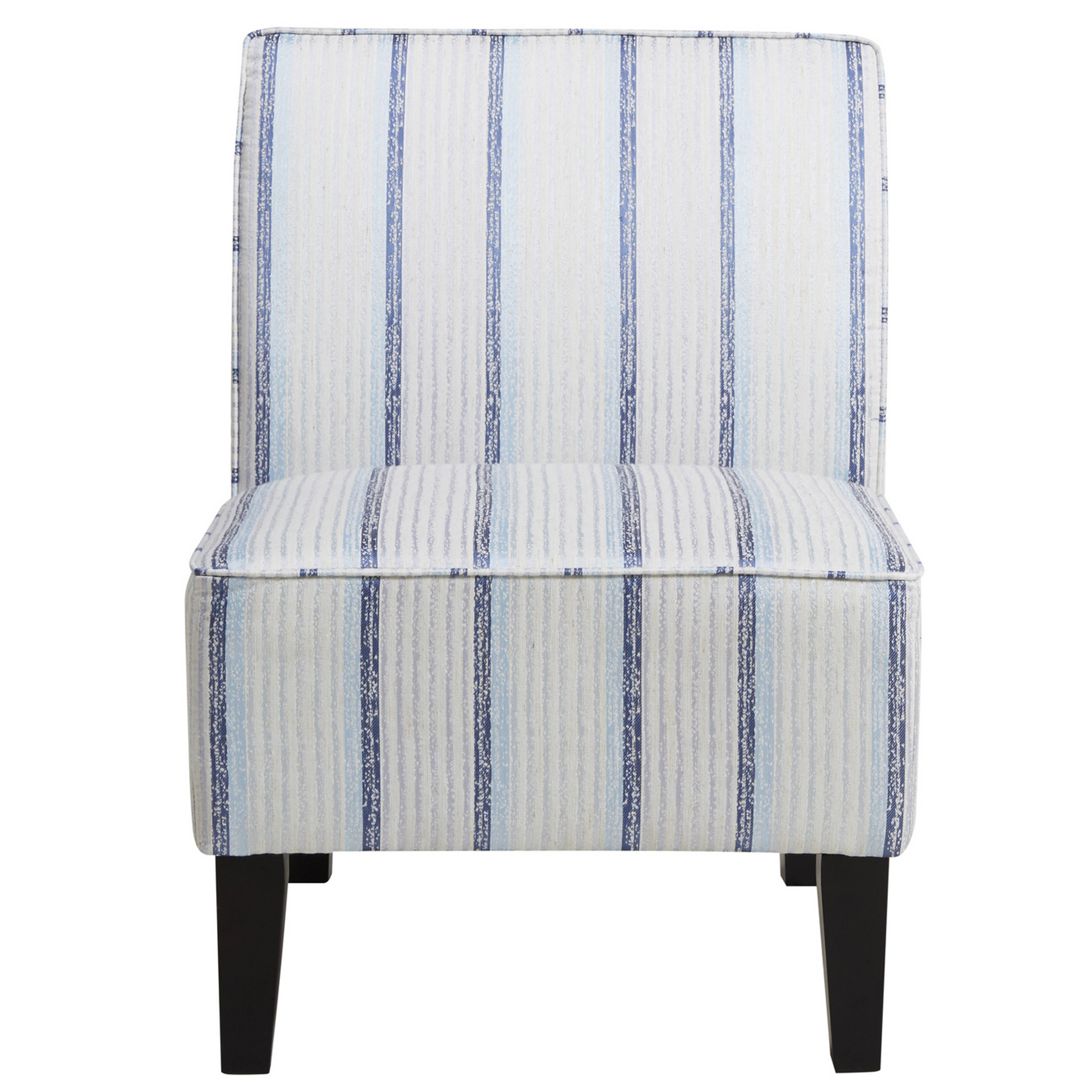 Beige Accent Chairs With Blue Stripes.Home Meridian Blue Striped Armless Slipper Chair The Classy Home
