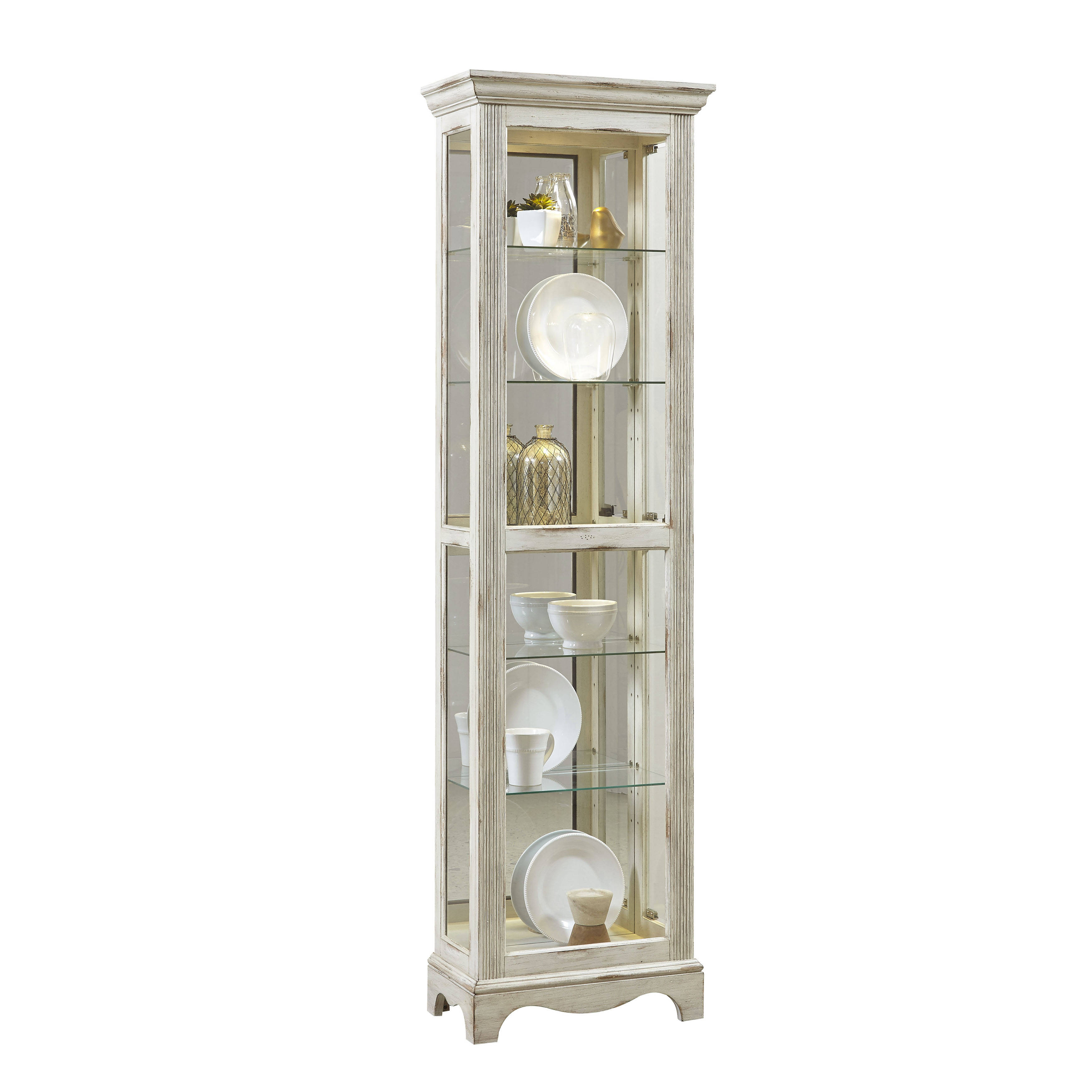 Distress Cabinets: Pulaski Furniture Distressed White Display Cabinet
