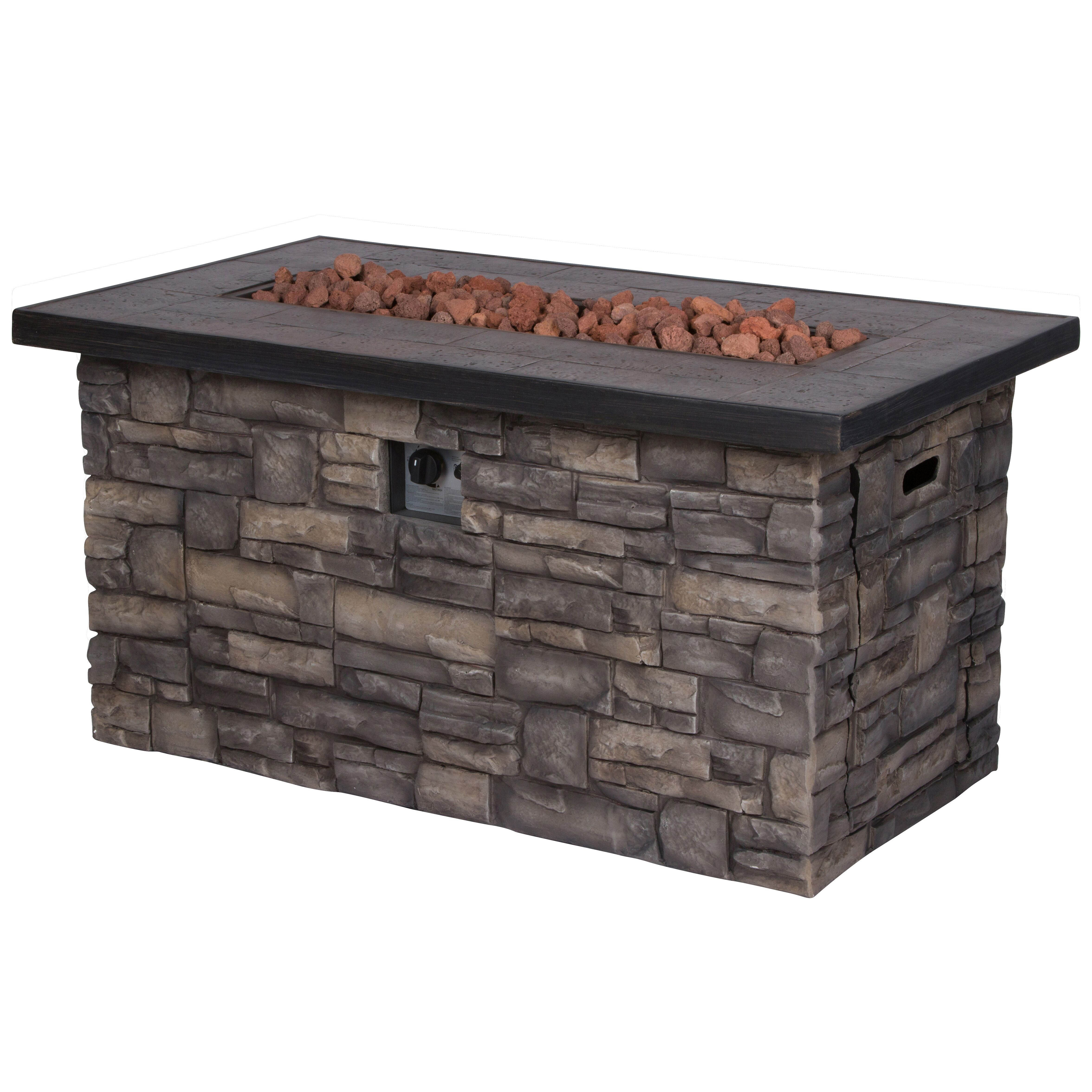 Shine Sevilla Stone Outdoor Rectangle Fire Pit Table With Lava Rocks