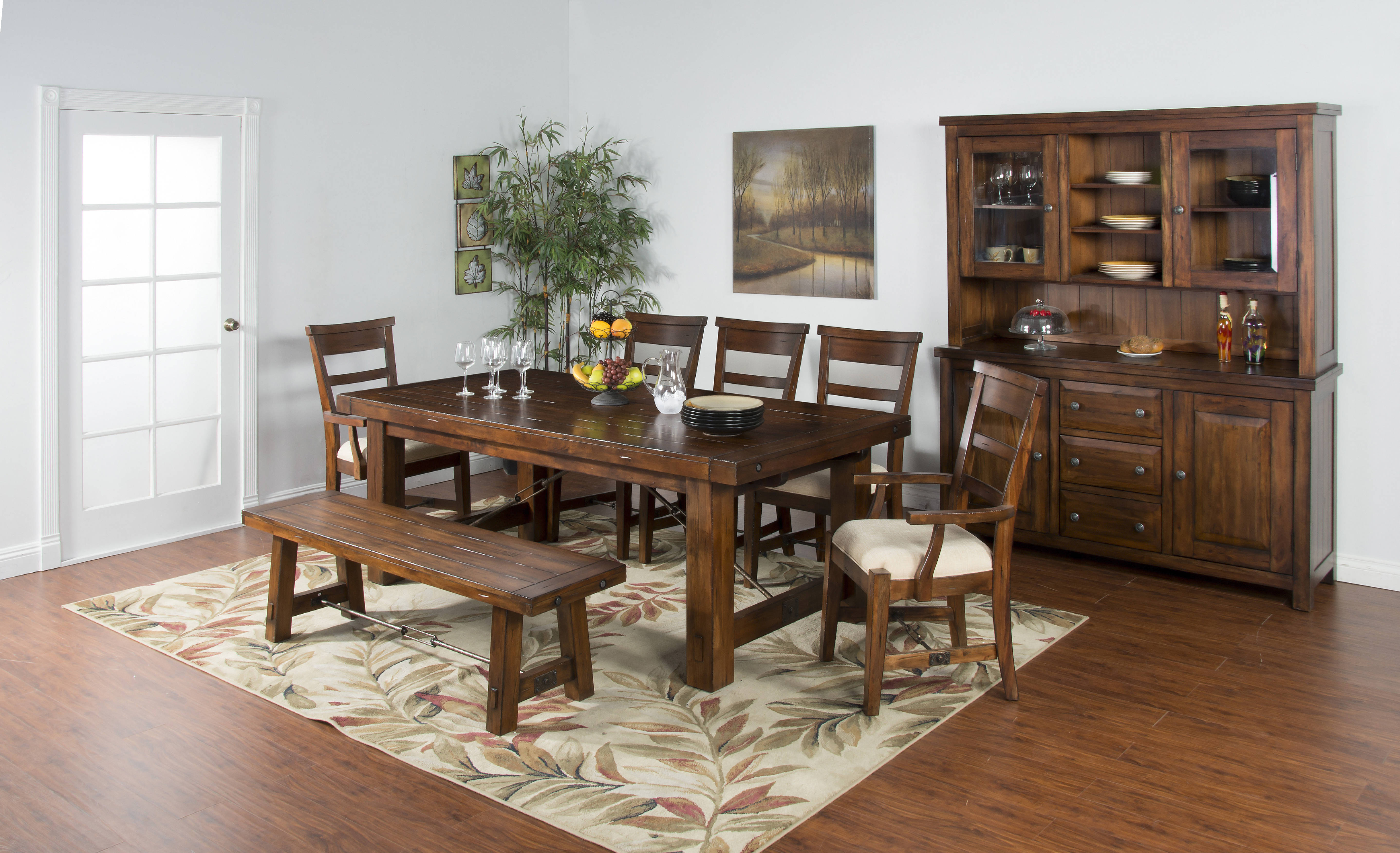 tuscany vintage mocha wood rectangle extension 6pc dining
