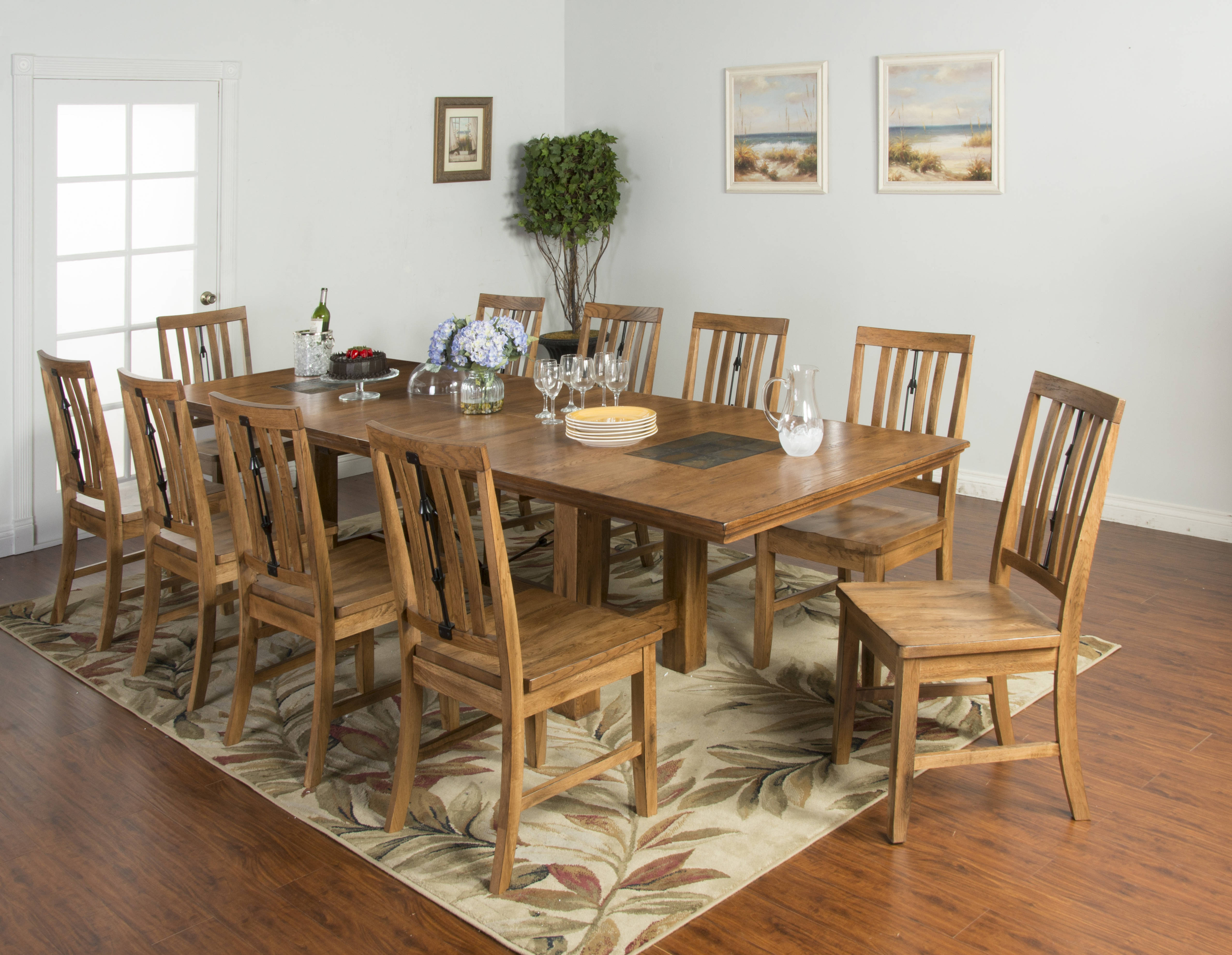 sedona rustic oak wood seat chair and table 11pc dining