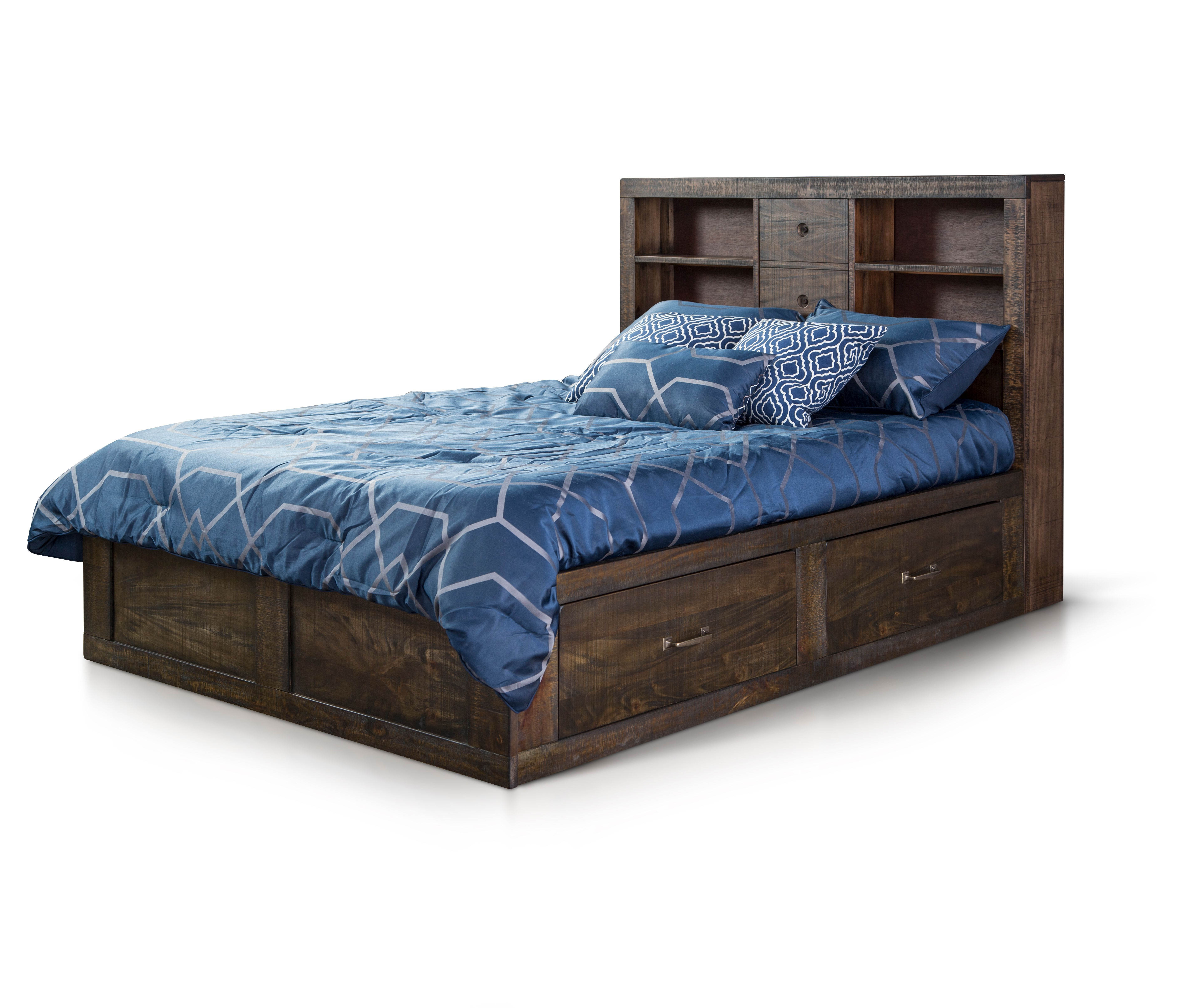 Sunny Designs Flex Life Ranch House Dark Brown Full Captains Bookcase Storage Bed