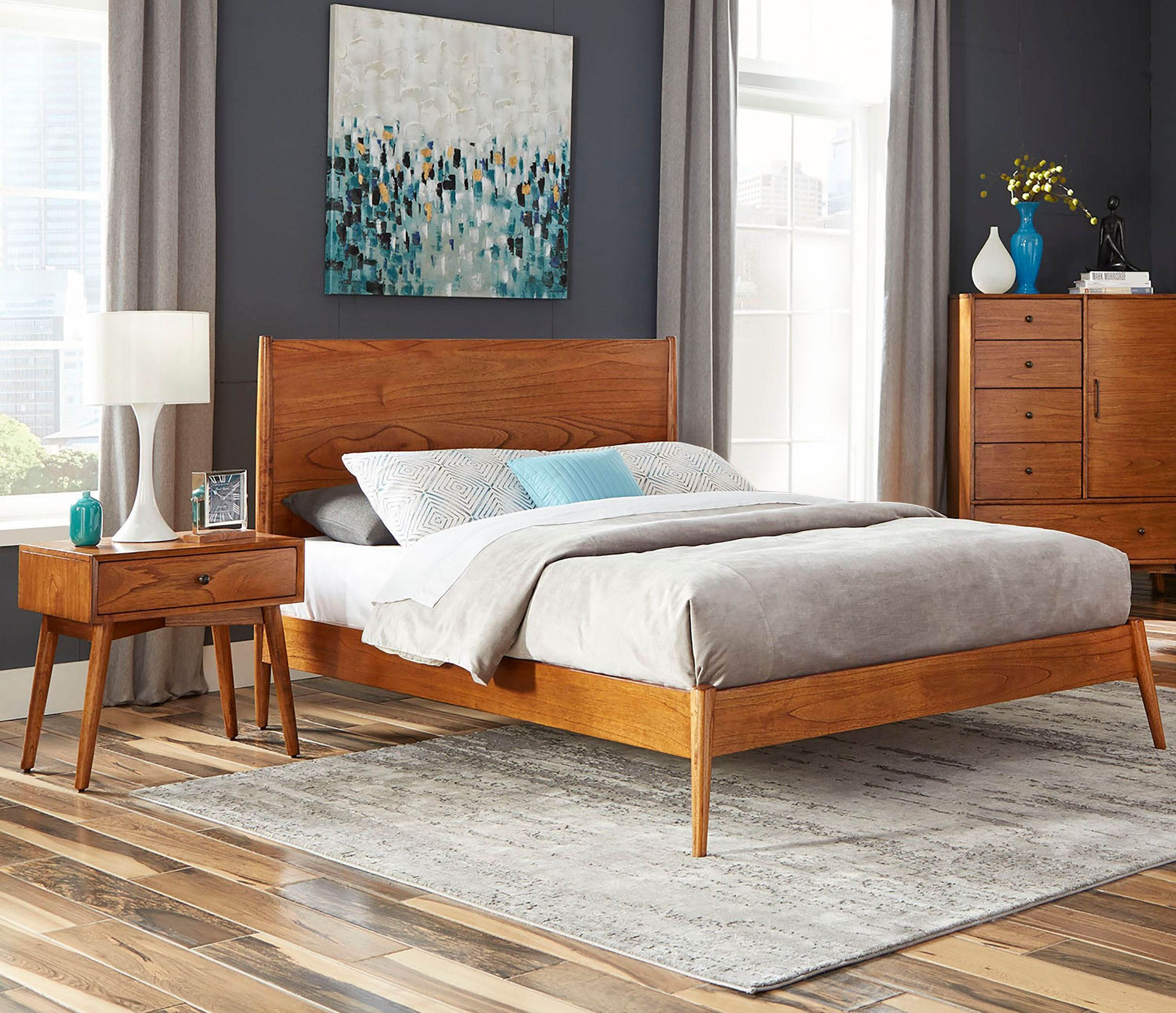 Sunny Designs American Modern Orange Brown 2pc Bedroom Set with Full Bed