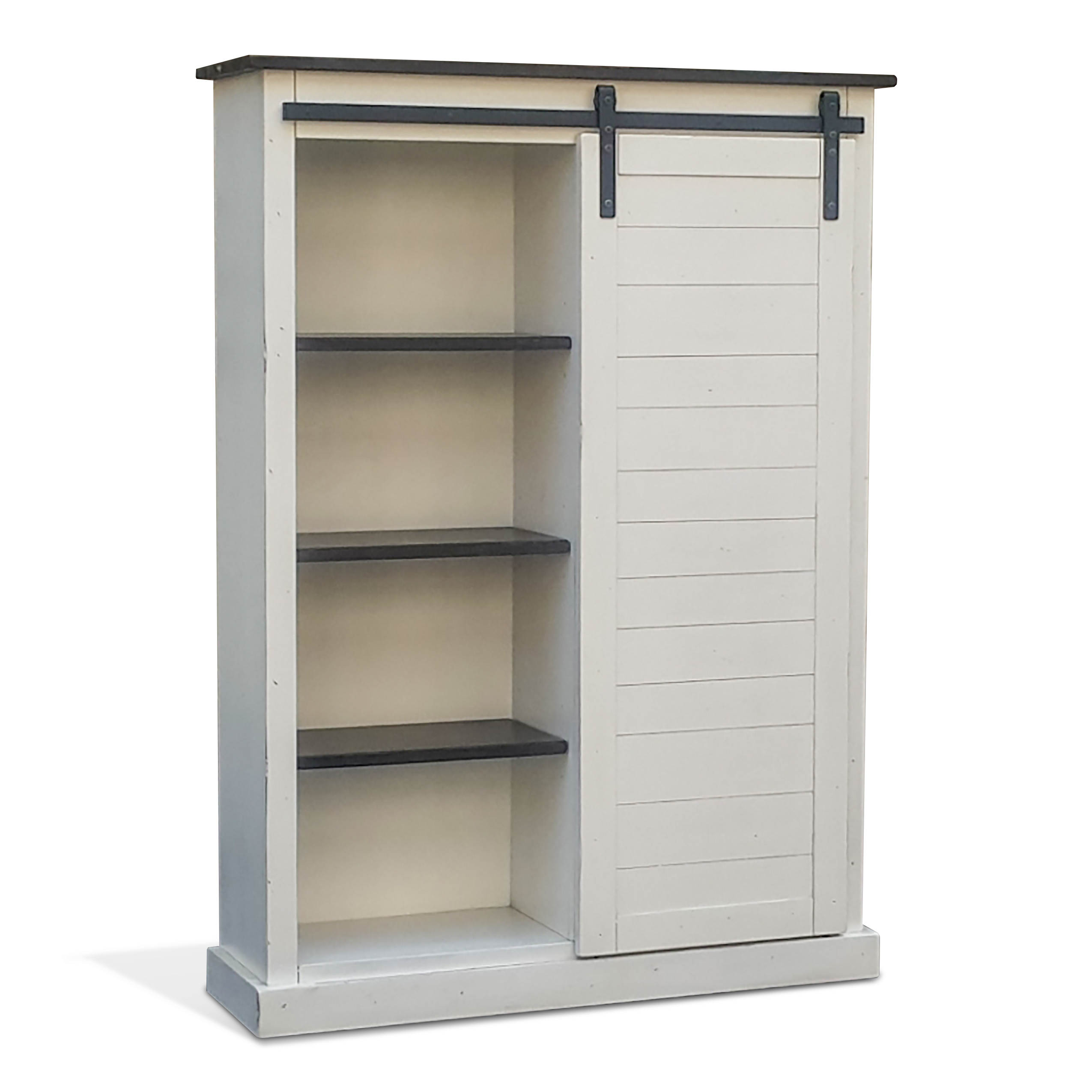 Sunny Designs Carriage House Off White Dark Brown Barn Door Bookcase