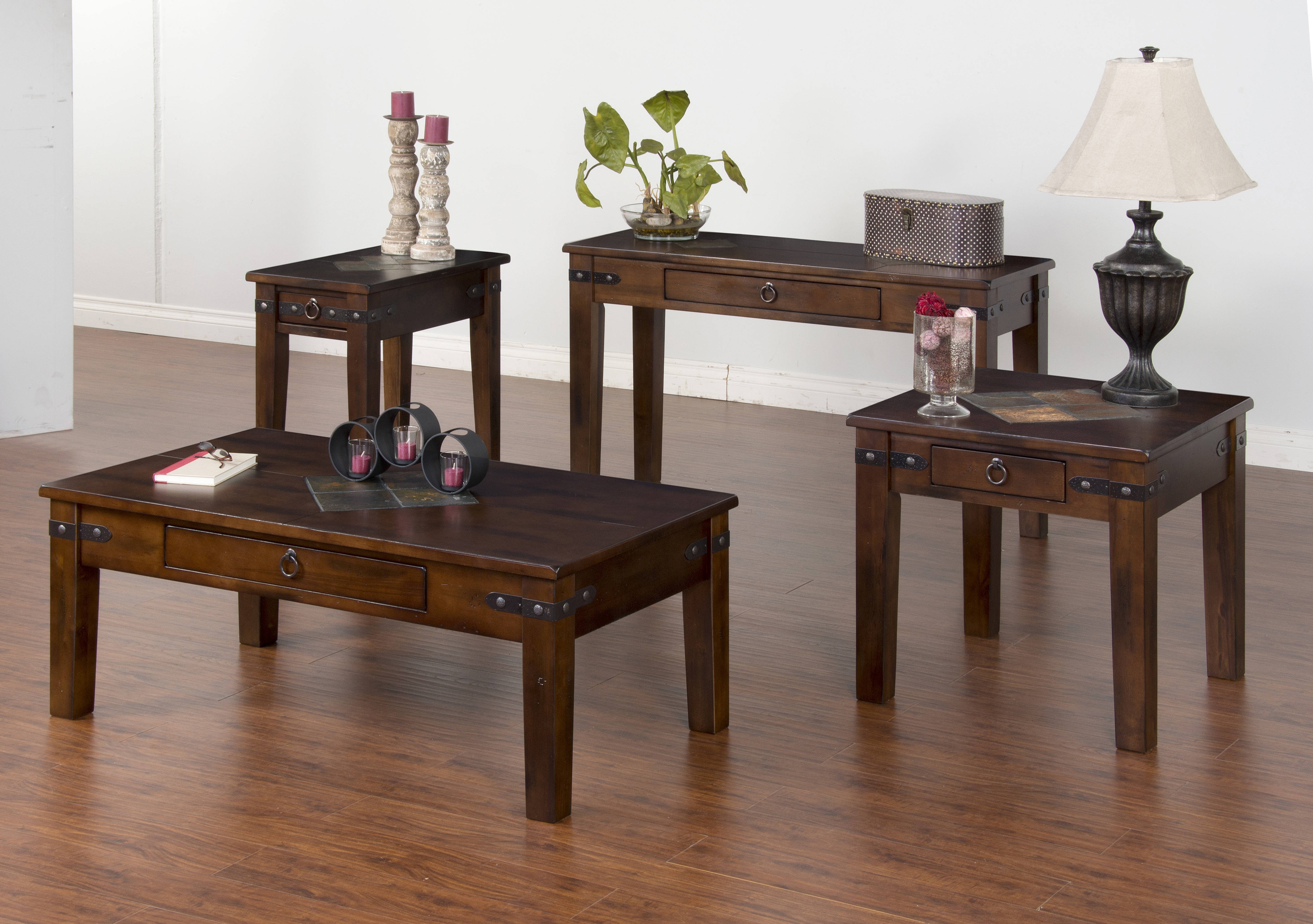 Santa Fe Traditional Dark Chocolate Wood Storage Coffee Table Set Occasional Tables The
