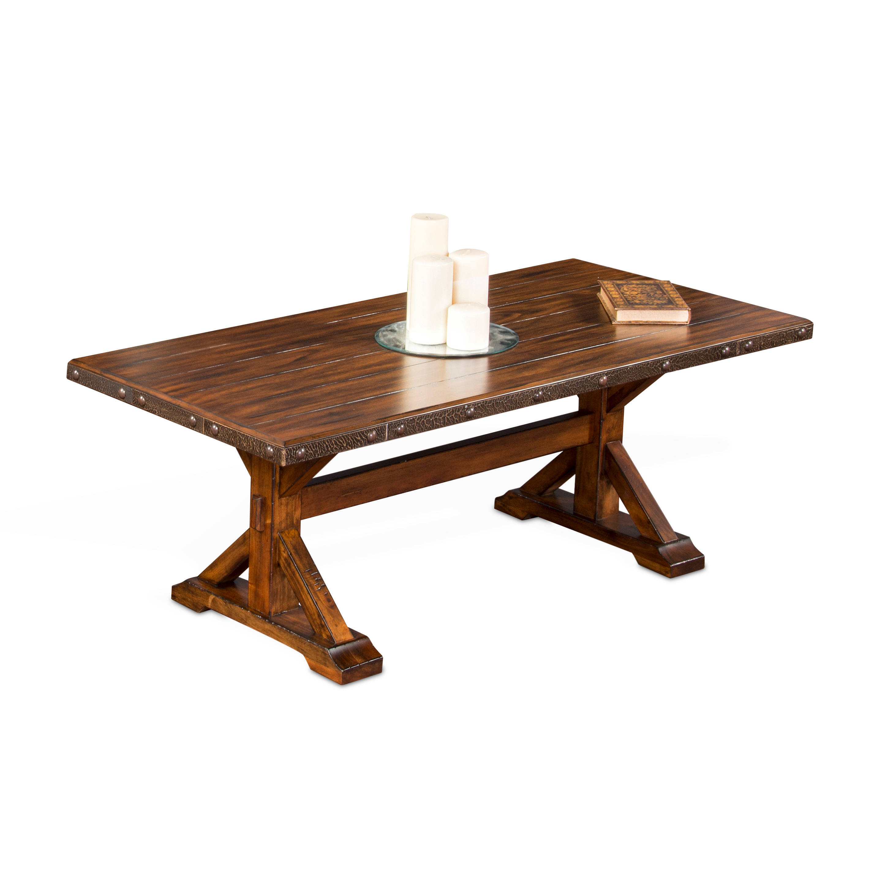 tuscany vintage mocha wood rectangle pedestal coffee table