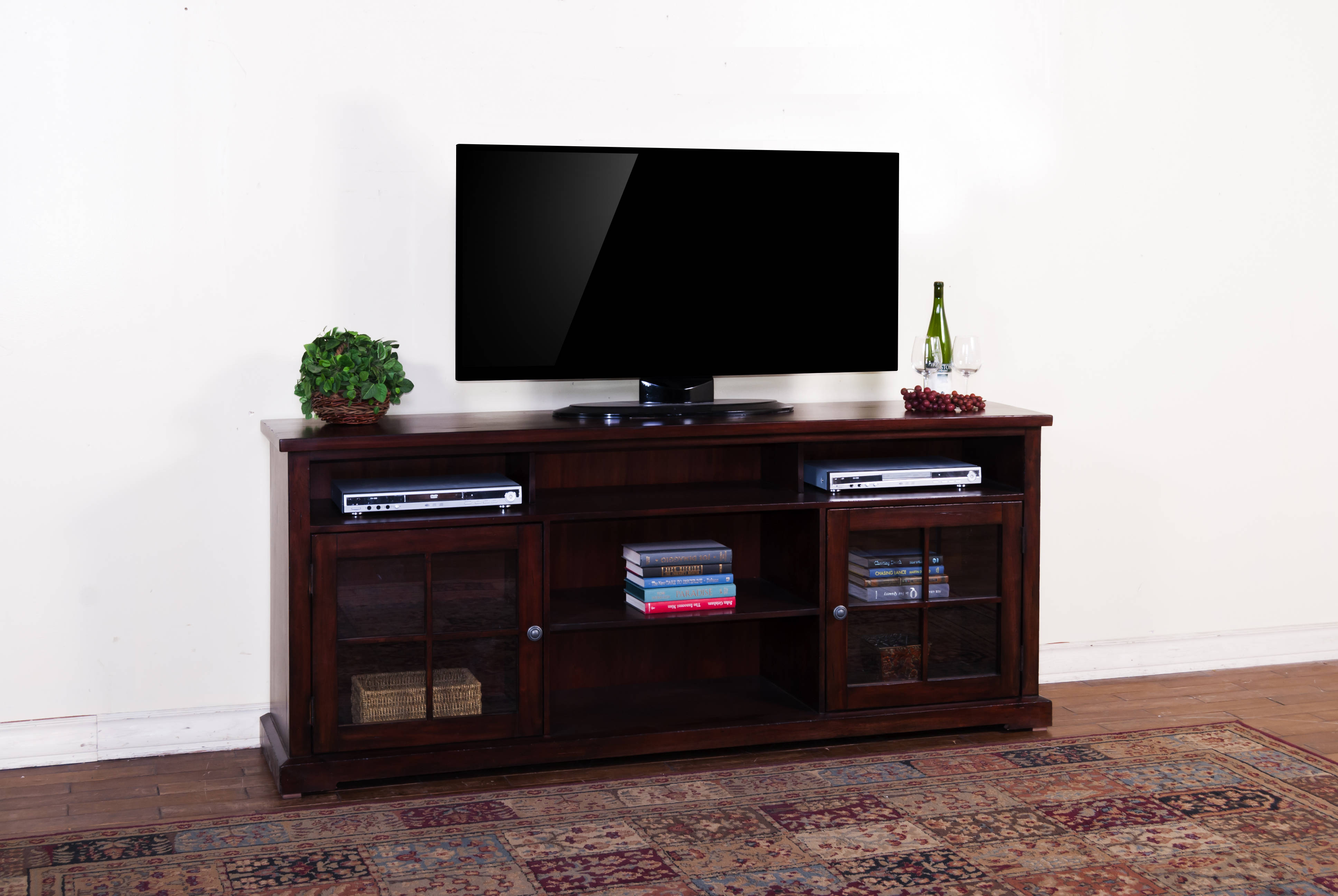 Sunny Designs Vineyard Rustic Mahogany 78 Inch TV Console Click To Enlarge  ...