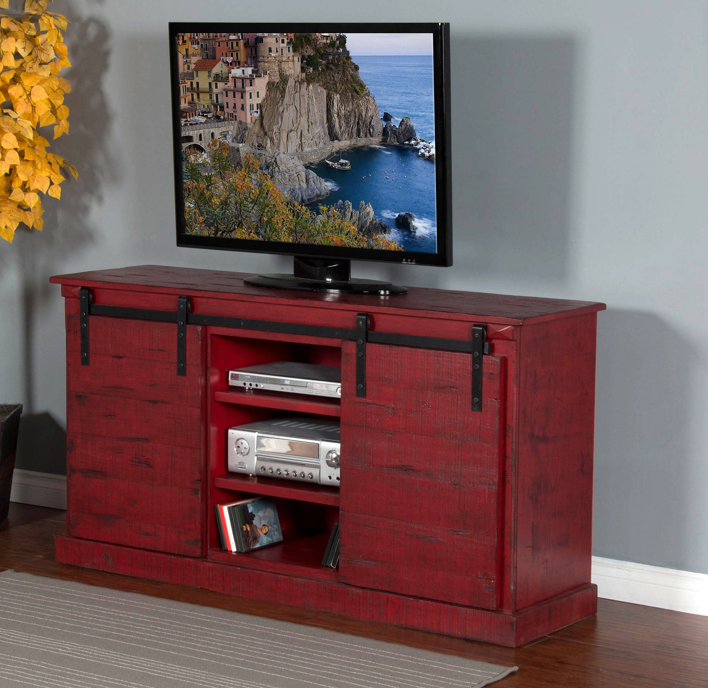 burnt red wood two shelves  inch tv console  entertainment  - click to love itclick to