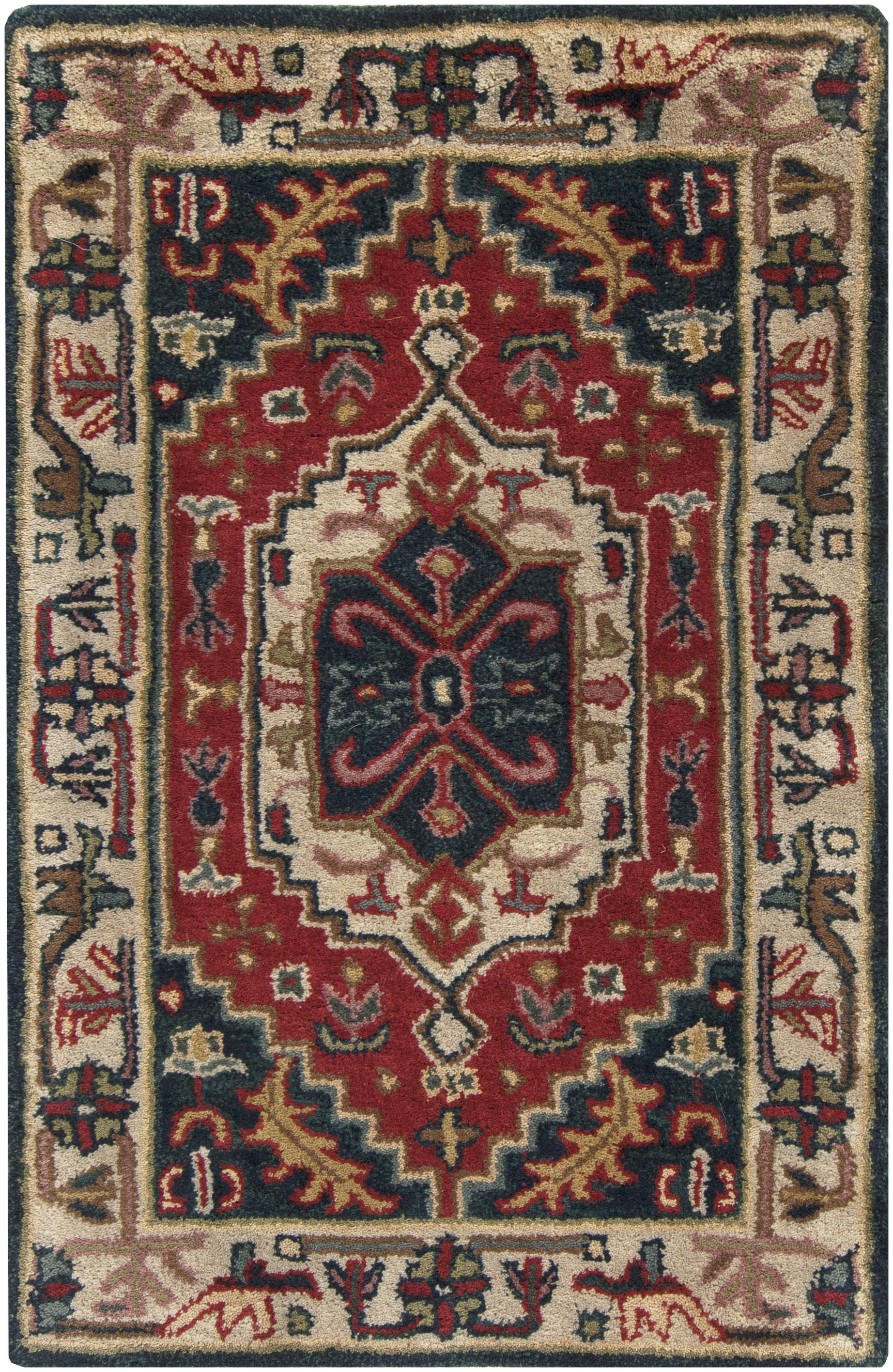Ancient Treasures Charcoal Beige Olive Wool Area Rug L 36
