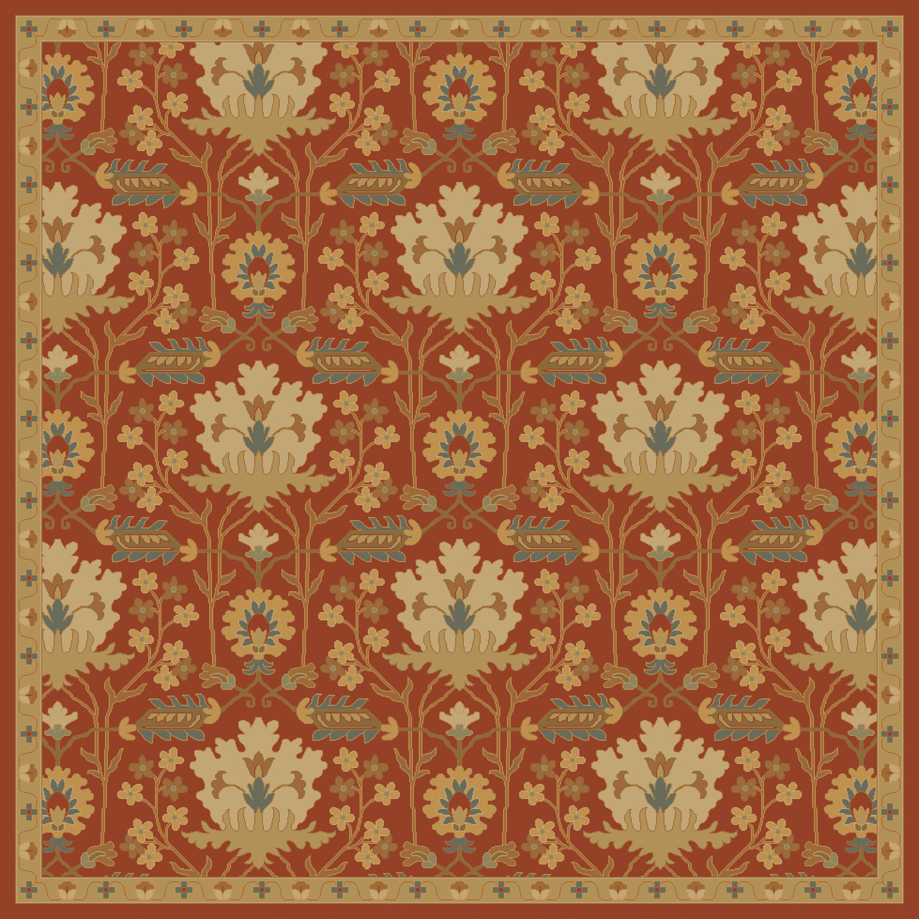 Caesar Burgundy Olive Wool Square Area Rug 8x8 The