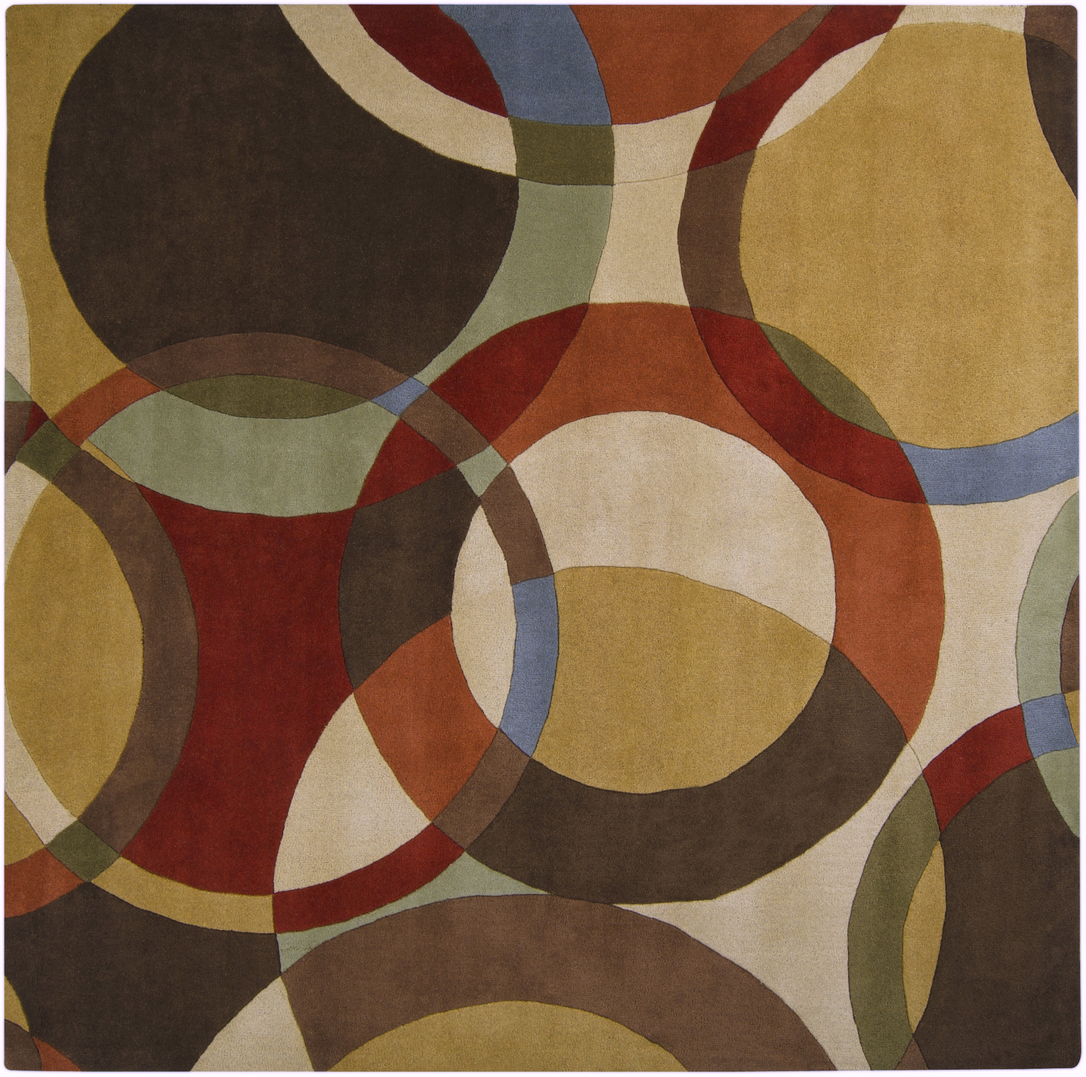 Forum modern beige chocolate rust wool square area rug l 96 x w 96