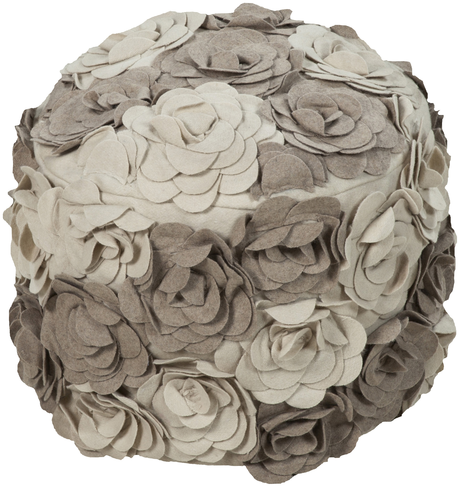 surya poufs taupe beige wool pouf 18x18x14 the classy home. Black Bedroom Furniture Sets. Home Design Ideas