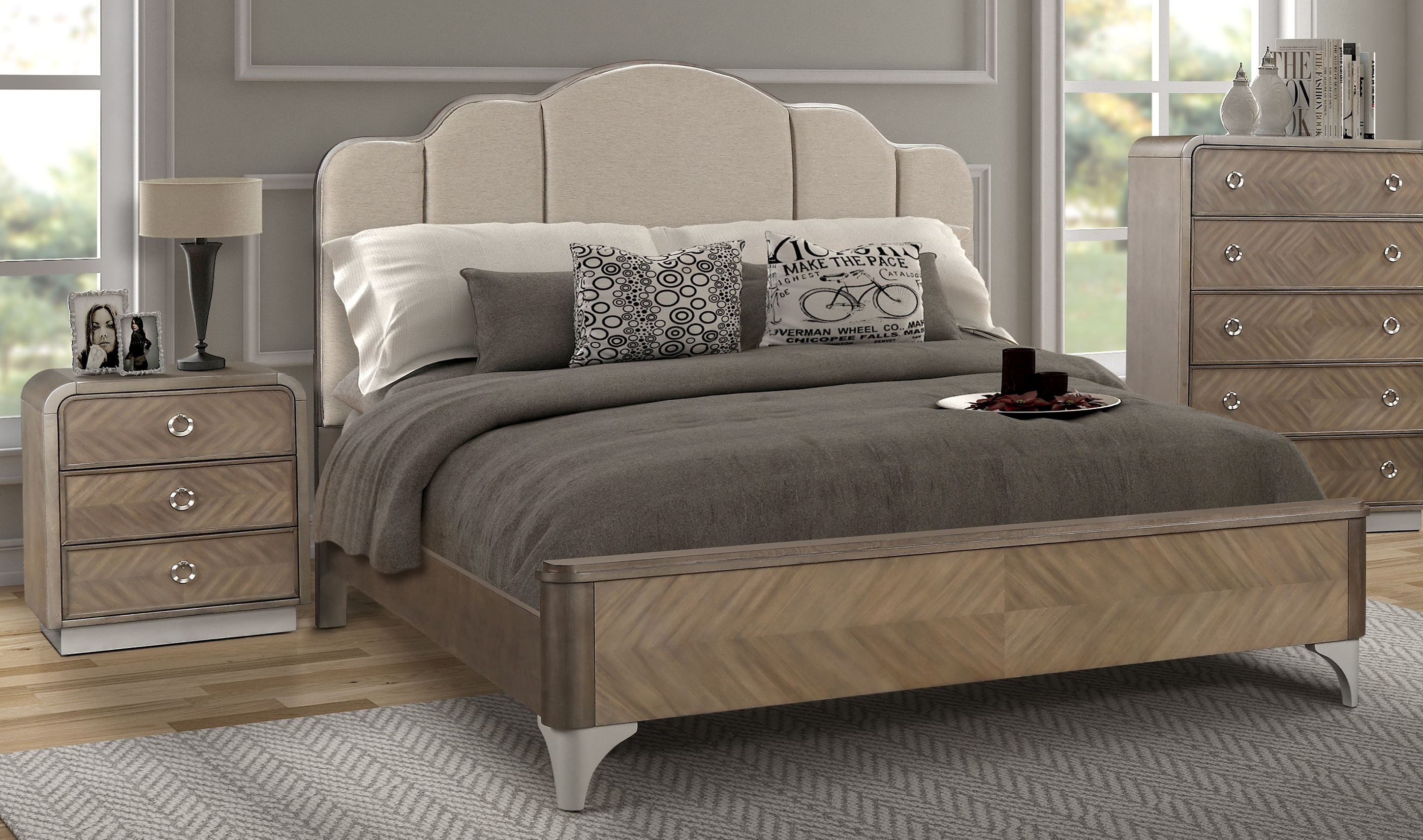 South Sea Cascade Upholstered 2pc Cal King Bedroom Set The
