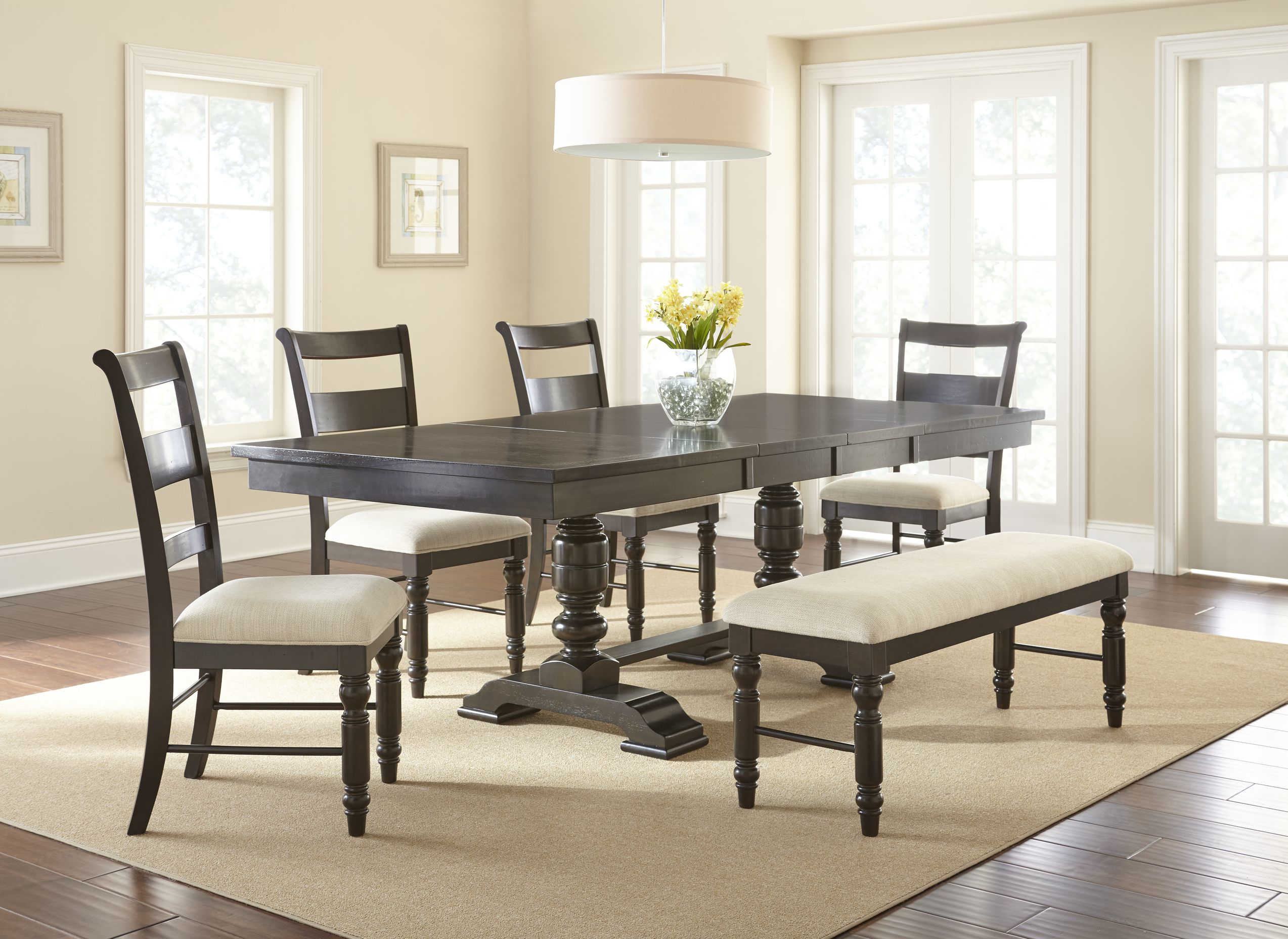 Steve Silver Hester Antique Charcoal 6pc Dining Room Set
