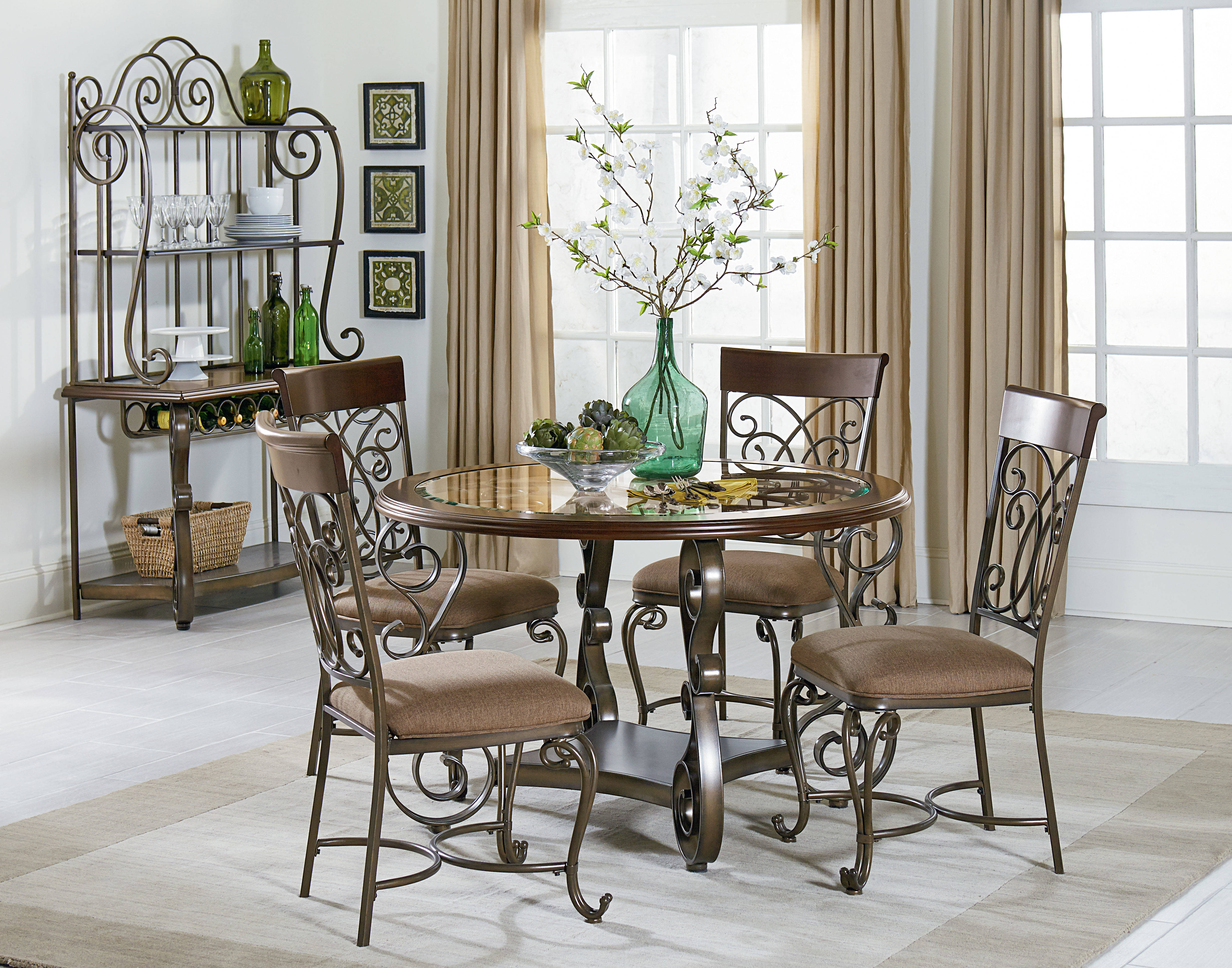 Standard Furniture Bombay Brown Cherry 5pc Dining Room Set The
