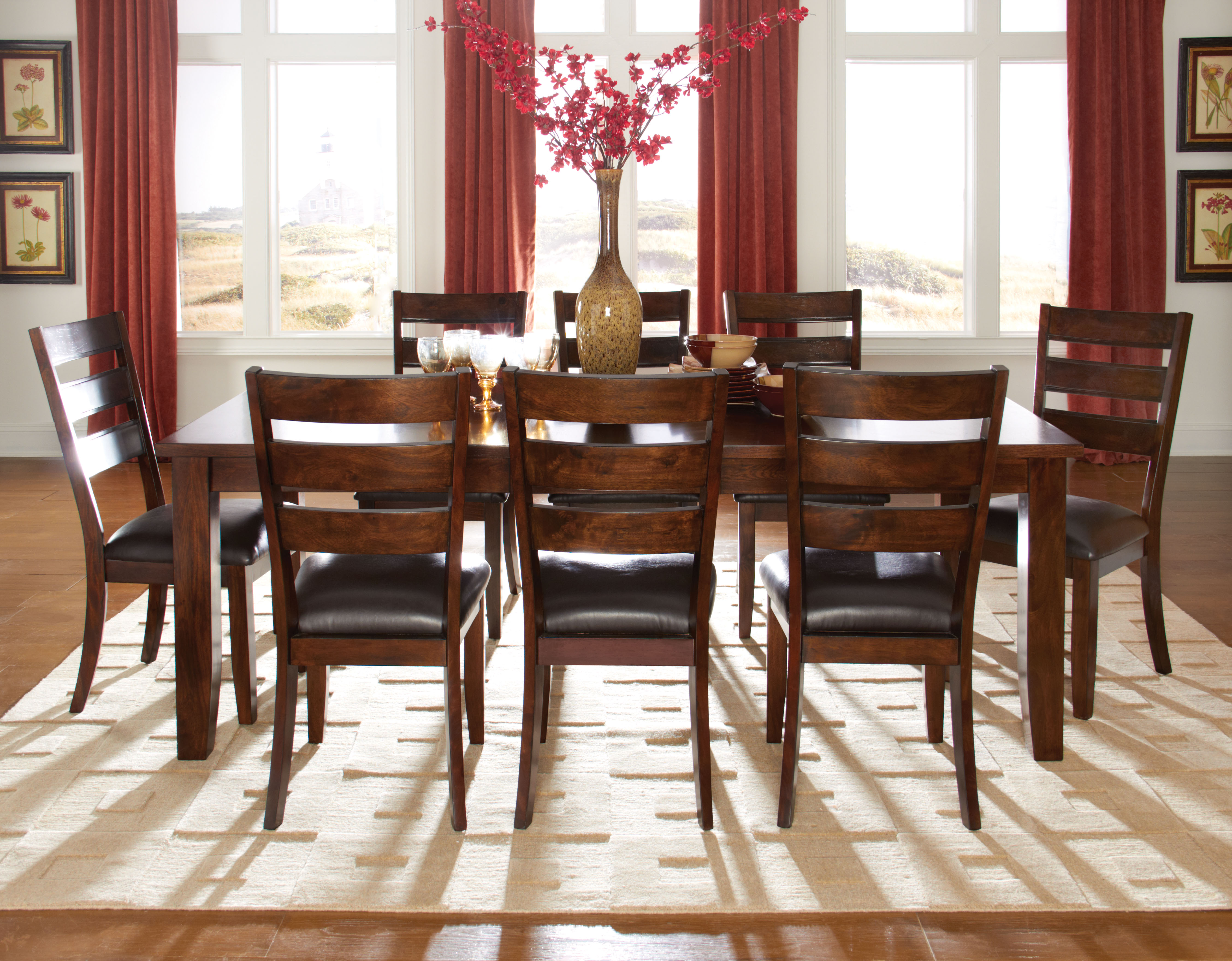 Abaco dark tobacco brown dining room set the classy home for Best deals on dining room sets
