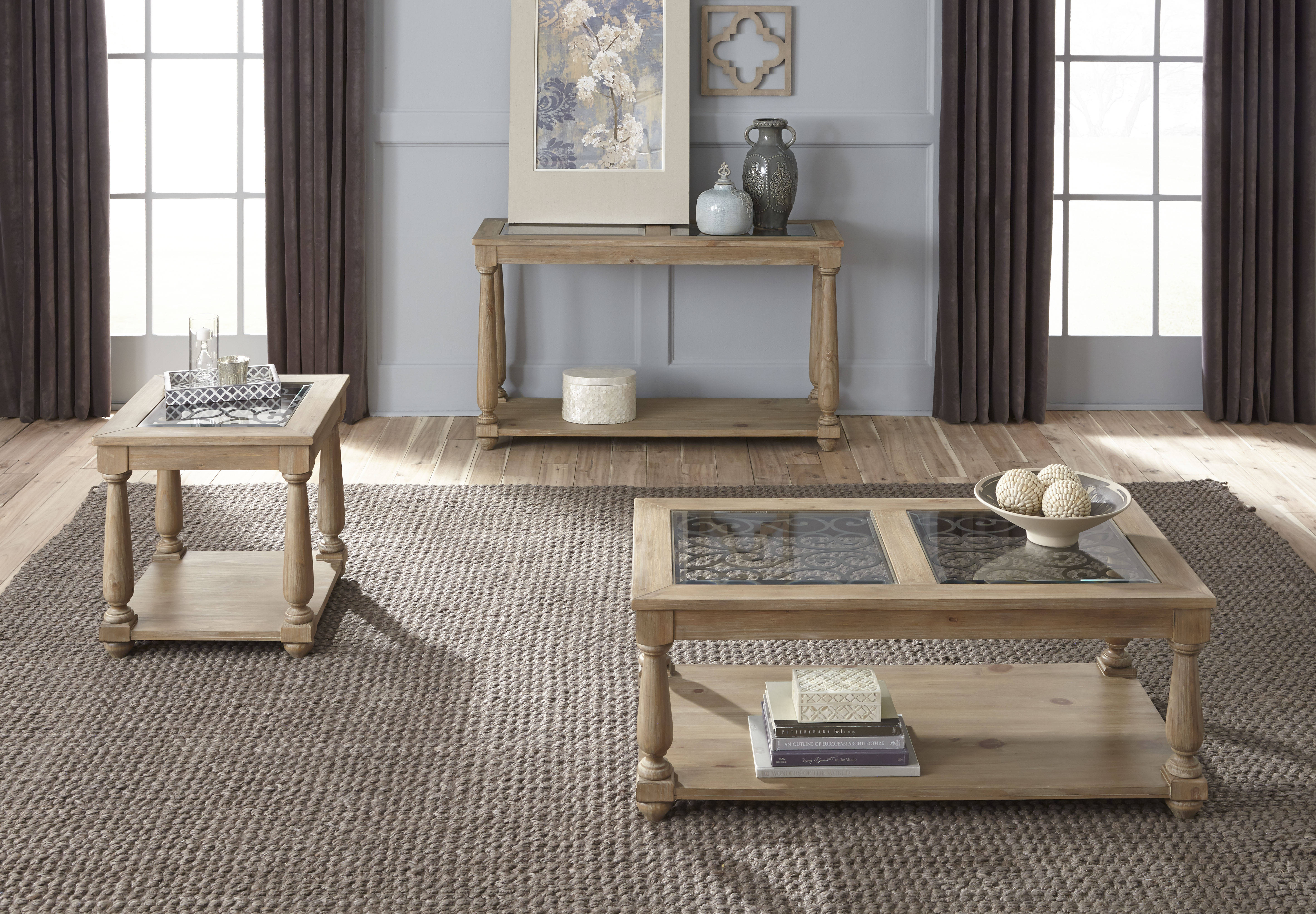 Standard Furniture Savannah Distressed Toffee 3pc Coffee Table Set