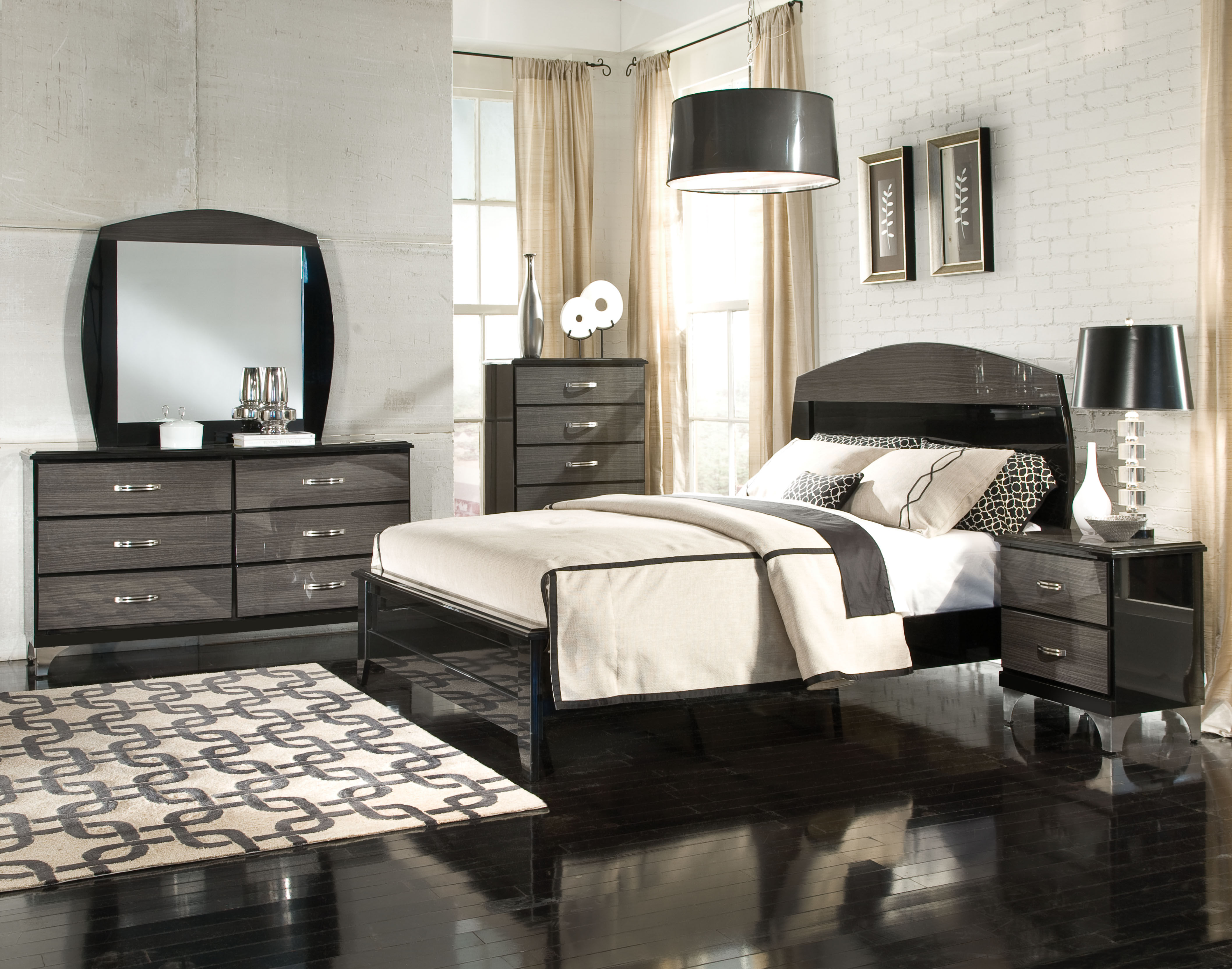 Decker black grey master bedroom set the classy home - Black and grey bedroom furniture ...