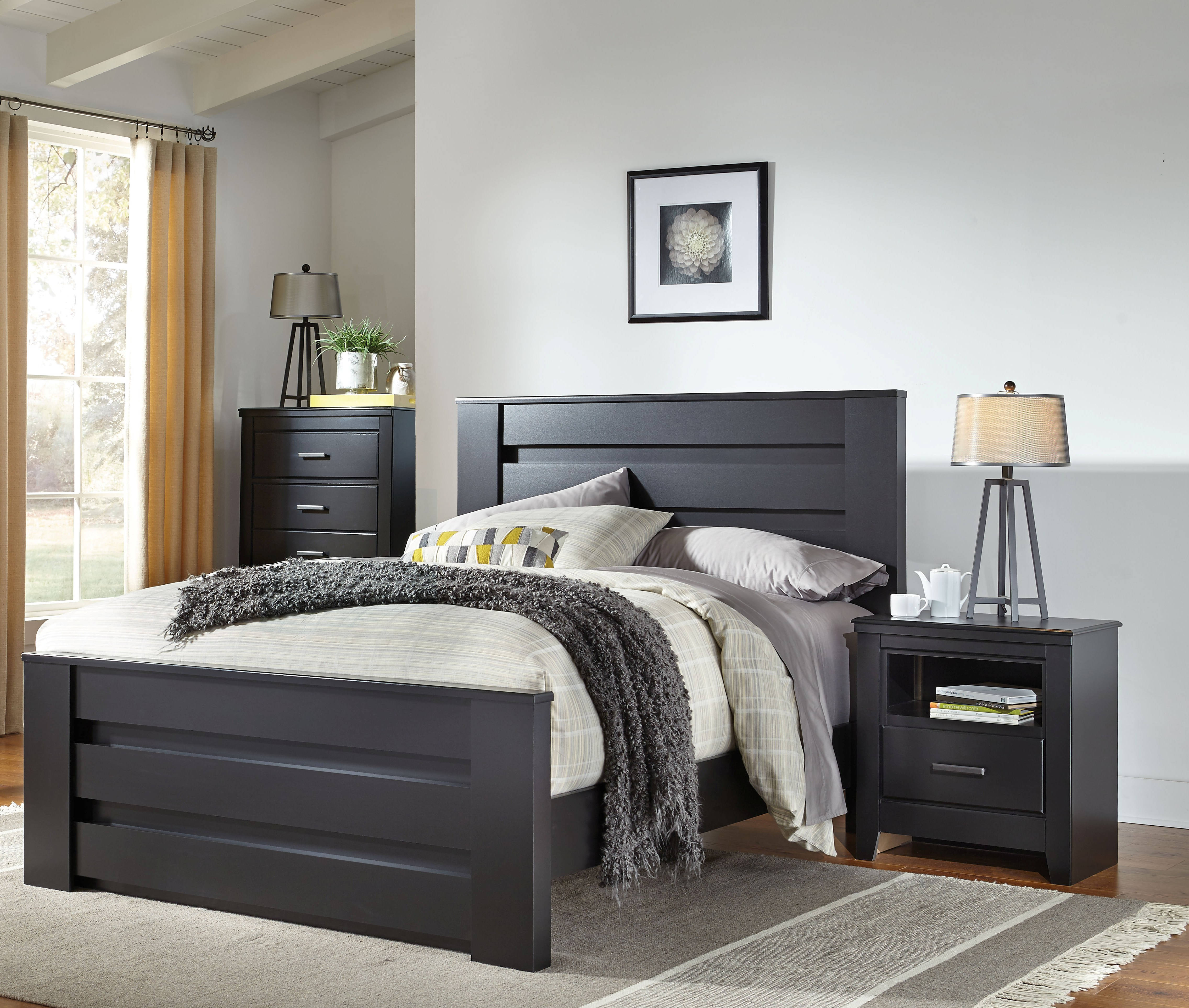 42b4814b1be0b0 Standard Furniture Modesto Black 2pc Bedroom Set with Queen Mansion Bed  Click To Enlarge ...