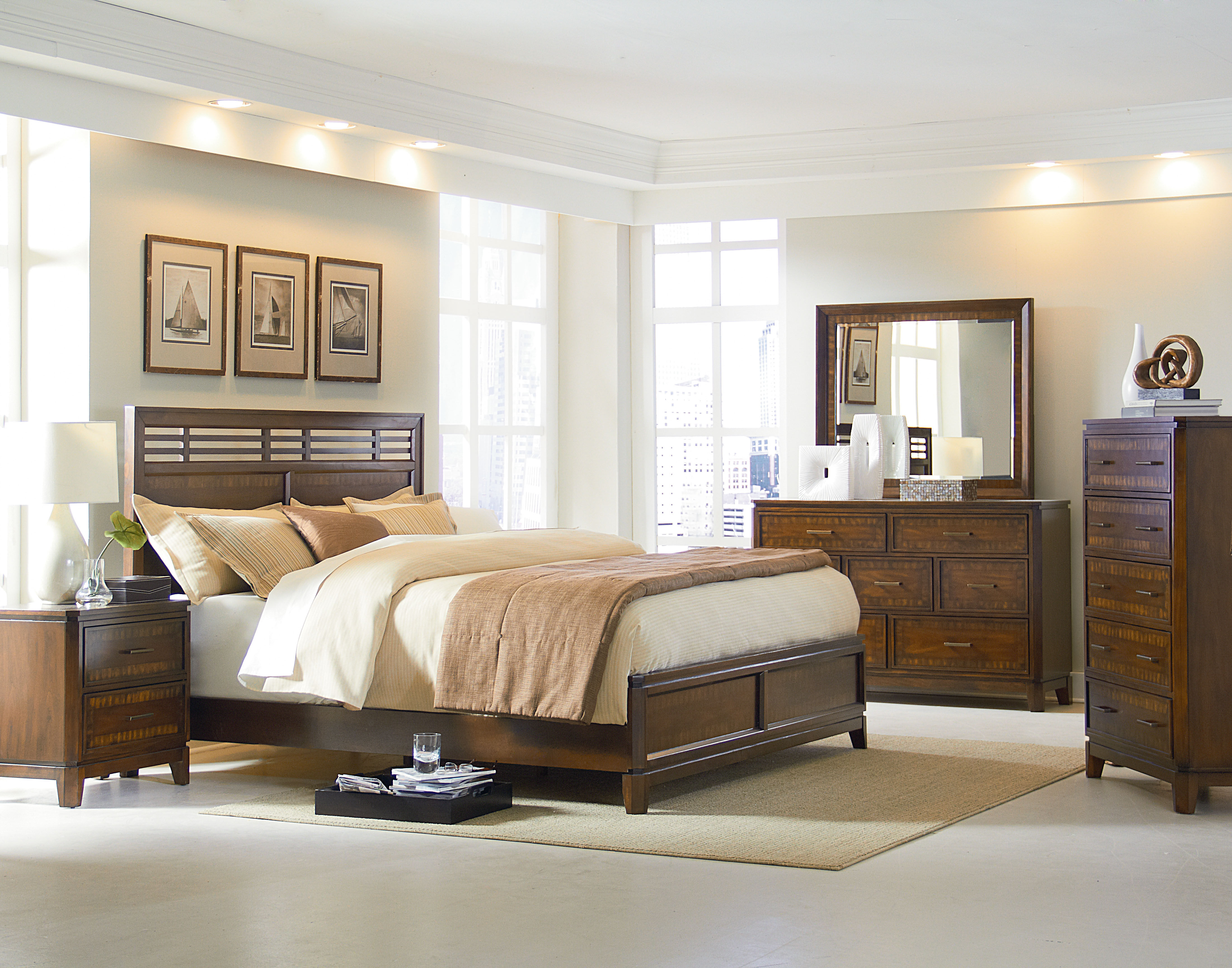 Avion transitional brown wood master bedroom set the classy home for Transitional bedroom furniture