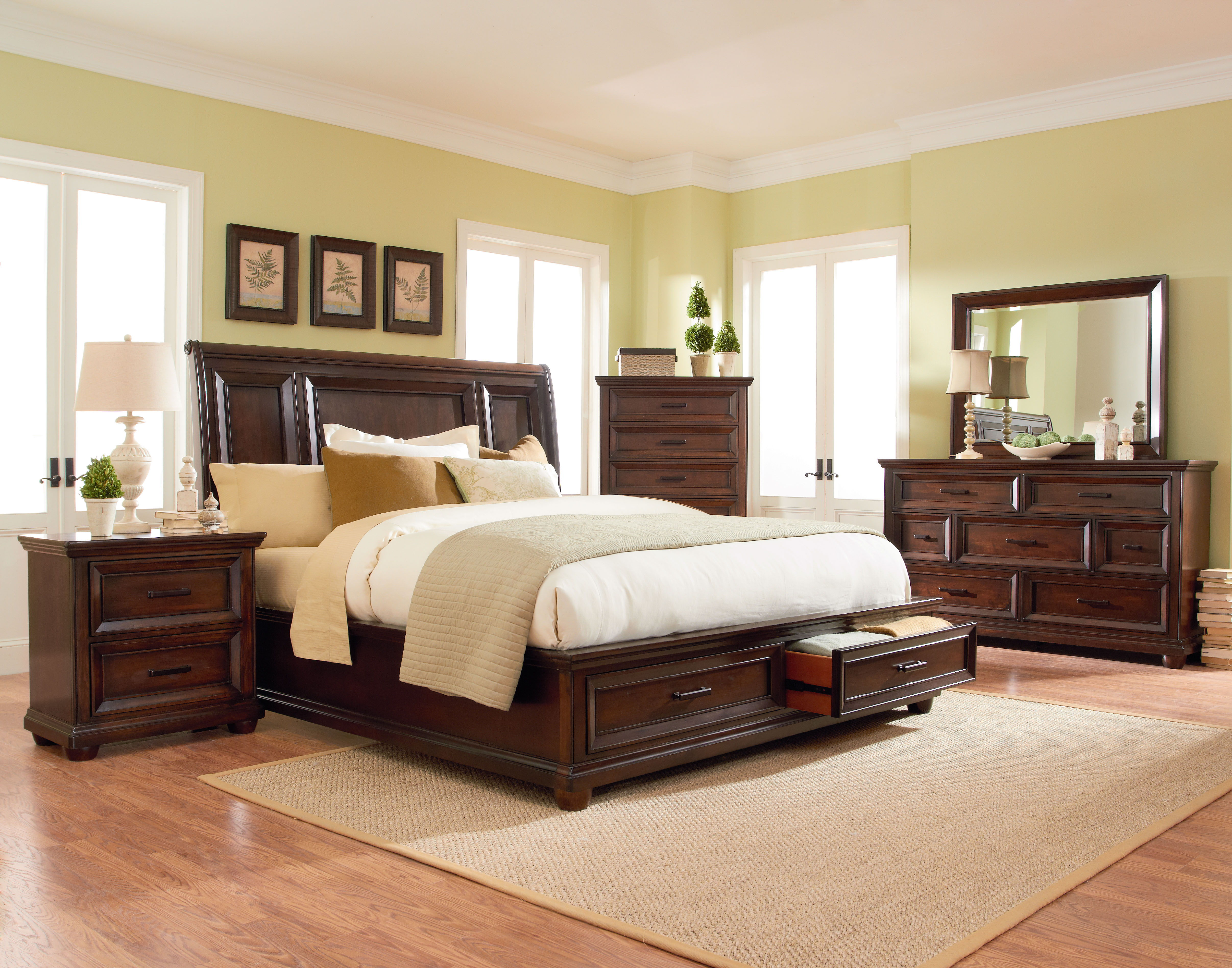 Standard furniture vineyard tobacco 2pc bedroom set with queen platform bed the classy home for Napa valley bedroom furniture