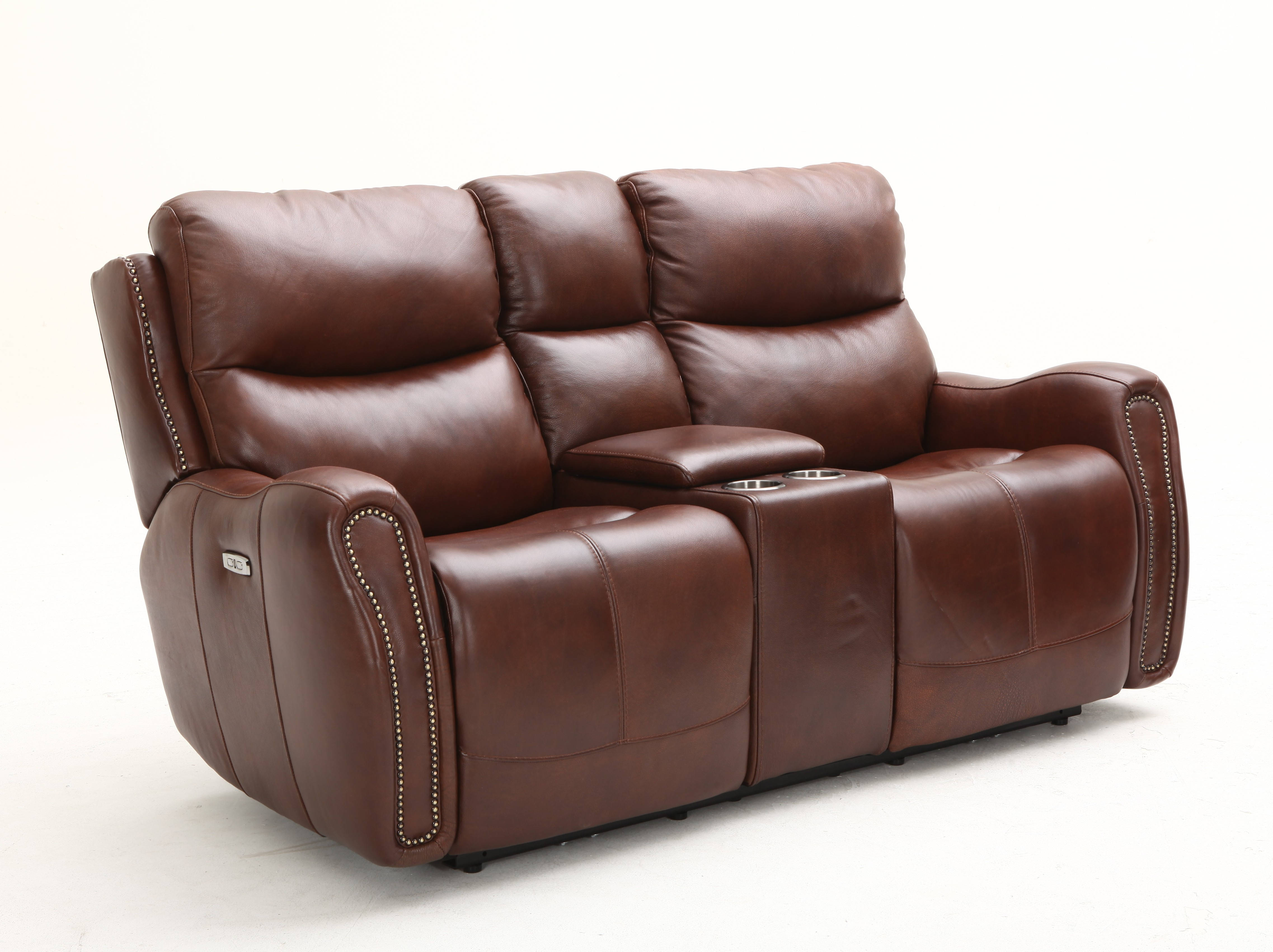 Outstanding Southern Motion Ellington Brown Power Headrest Console Loveseat Ncnpc Chair Design For Home Ncnpcorg