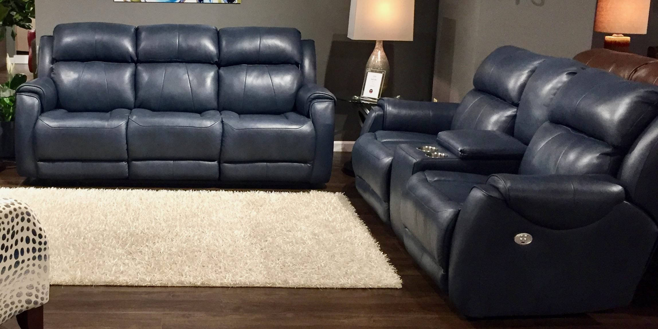Southern Motion Safe Bet Blue Power Headrest Reclining Sofa and Loveseat Set