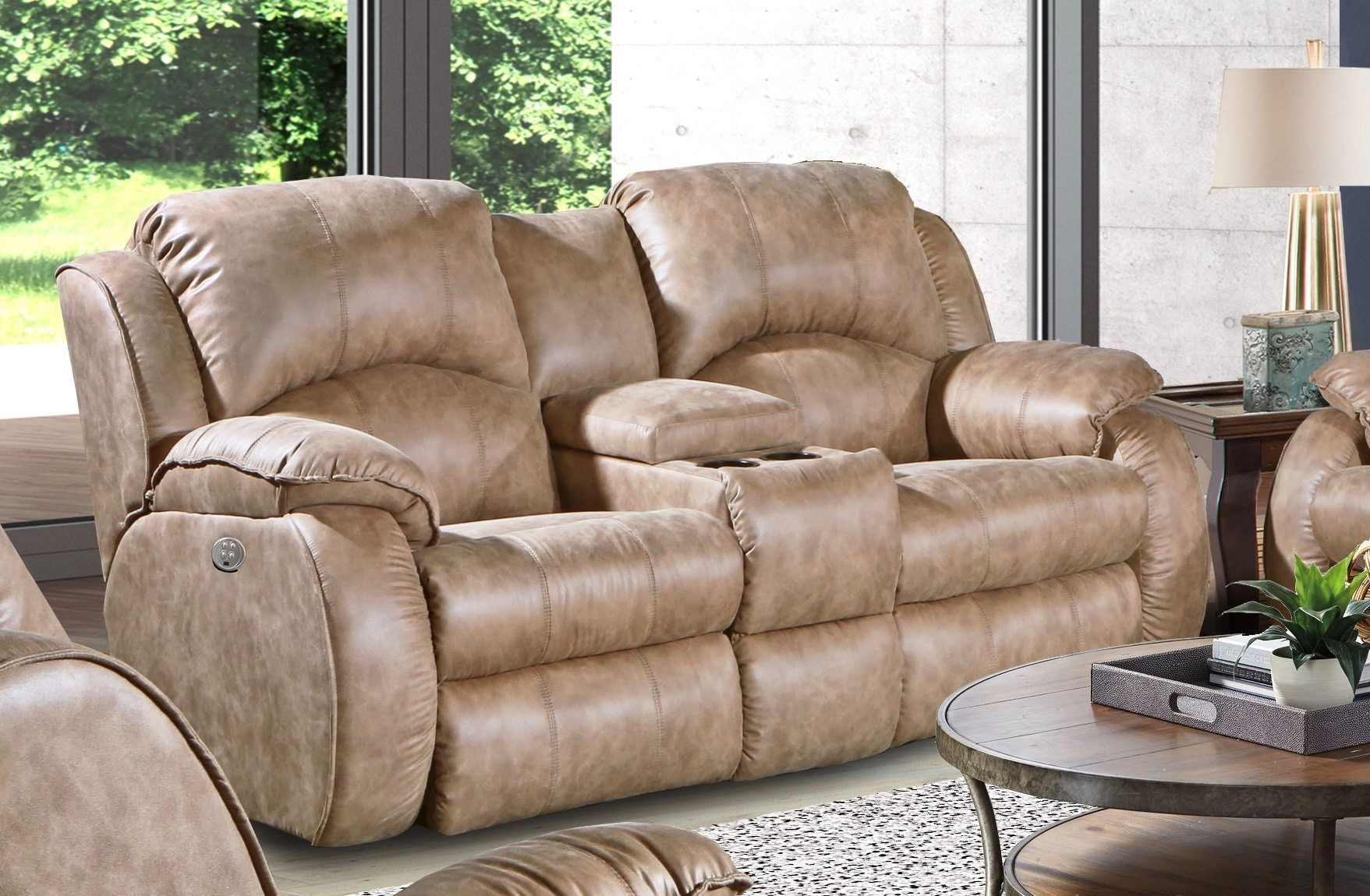 Southern Motion Cagney Brown Fabric Double Reclining