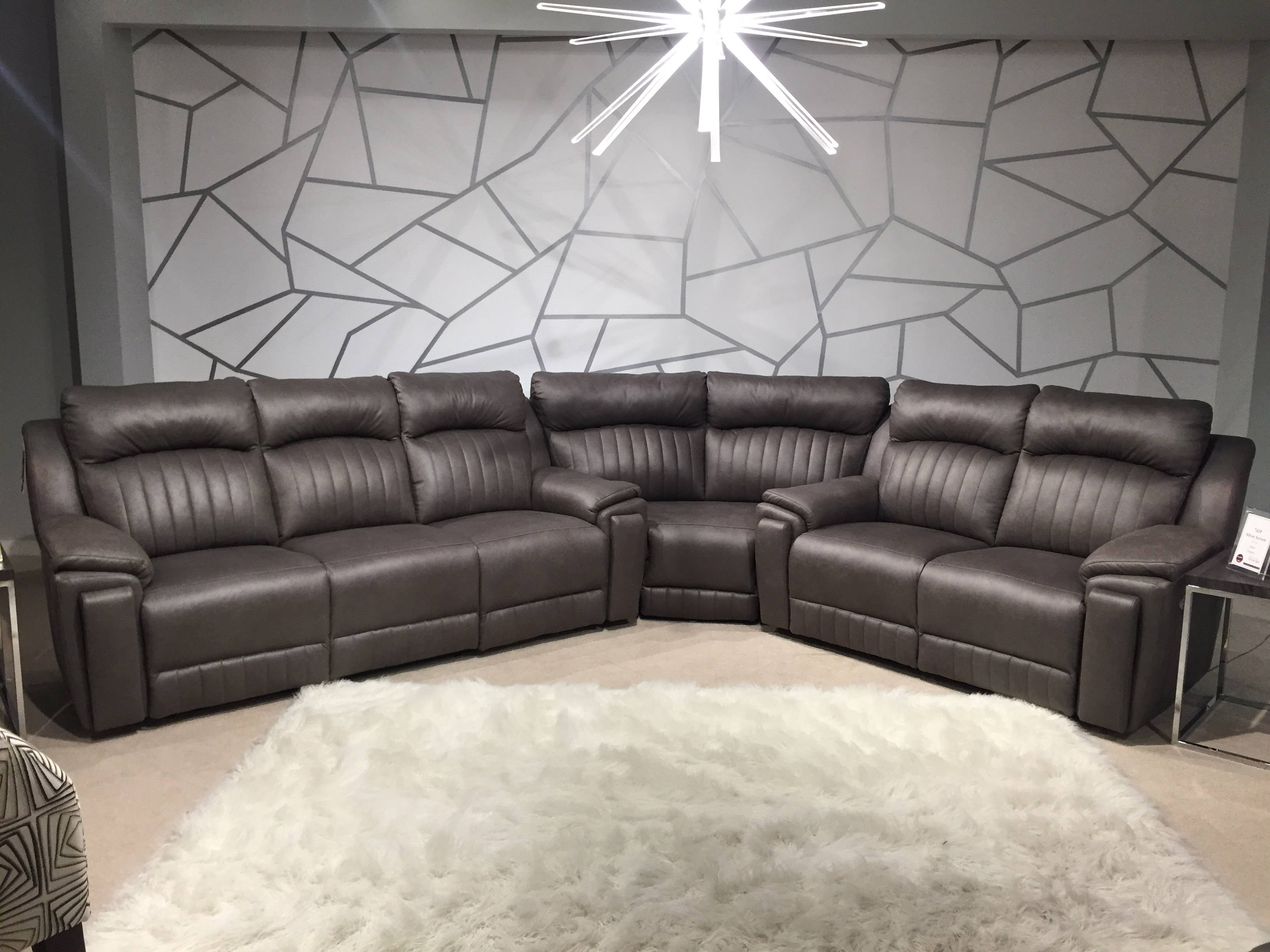 Southern Motion Silver Screen Grey Power Reclining Sectional Sofa with  Hidden Cupholders