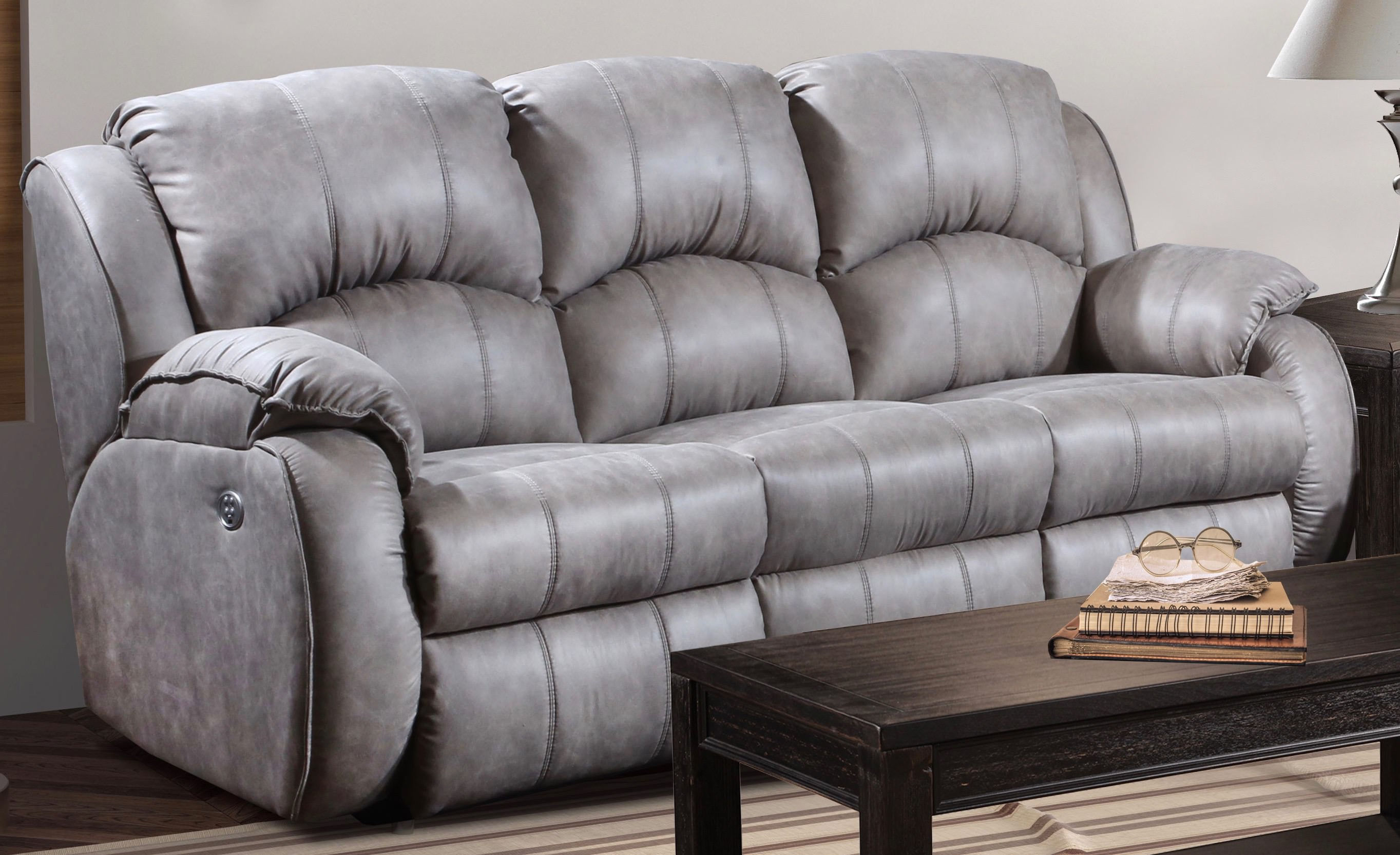Southern Motion Cagney Grey Power Headrest Double Reclining Sofa