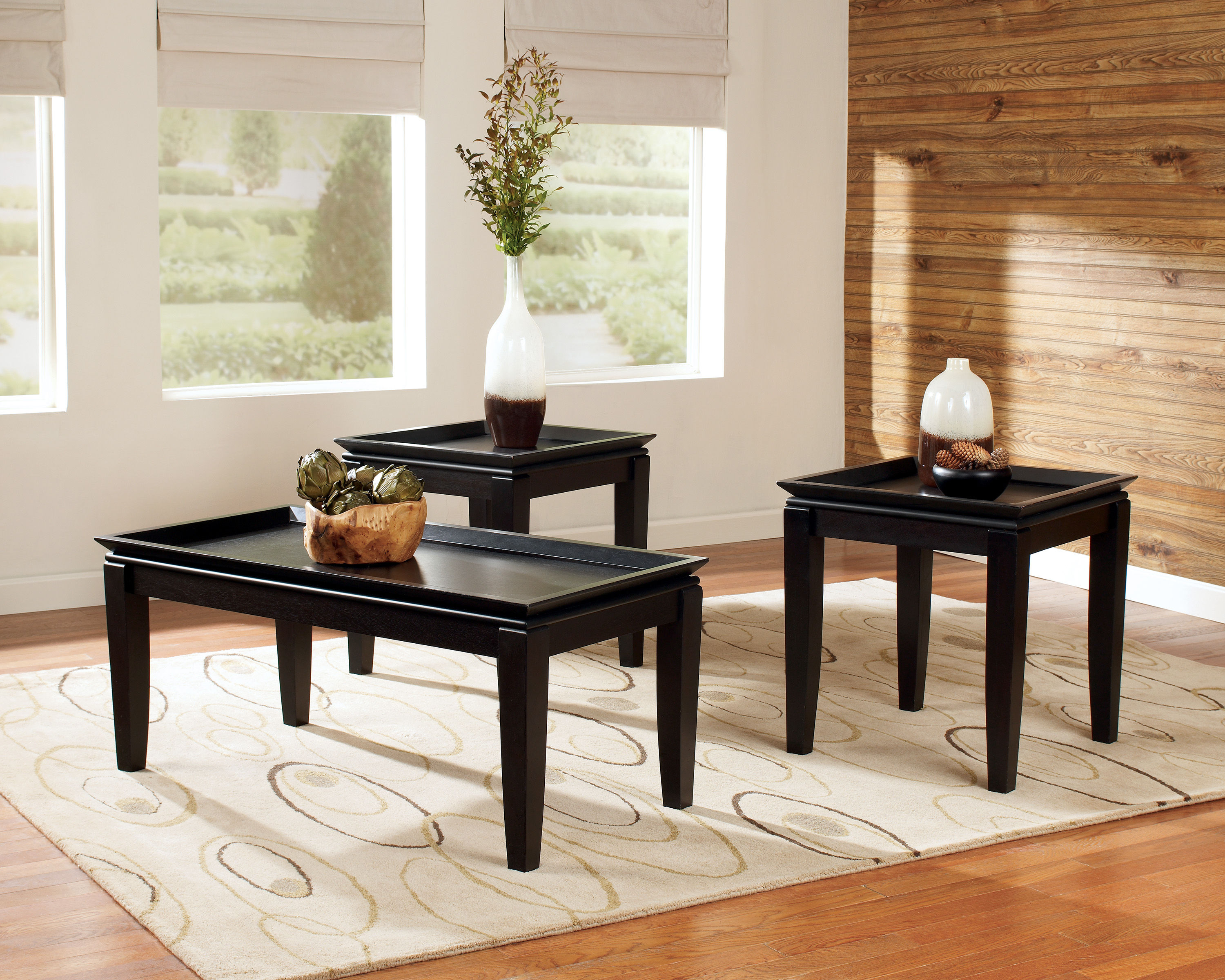 Ashley Furniture Delormy Black 3pc Coffee Table Set The