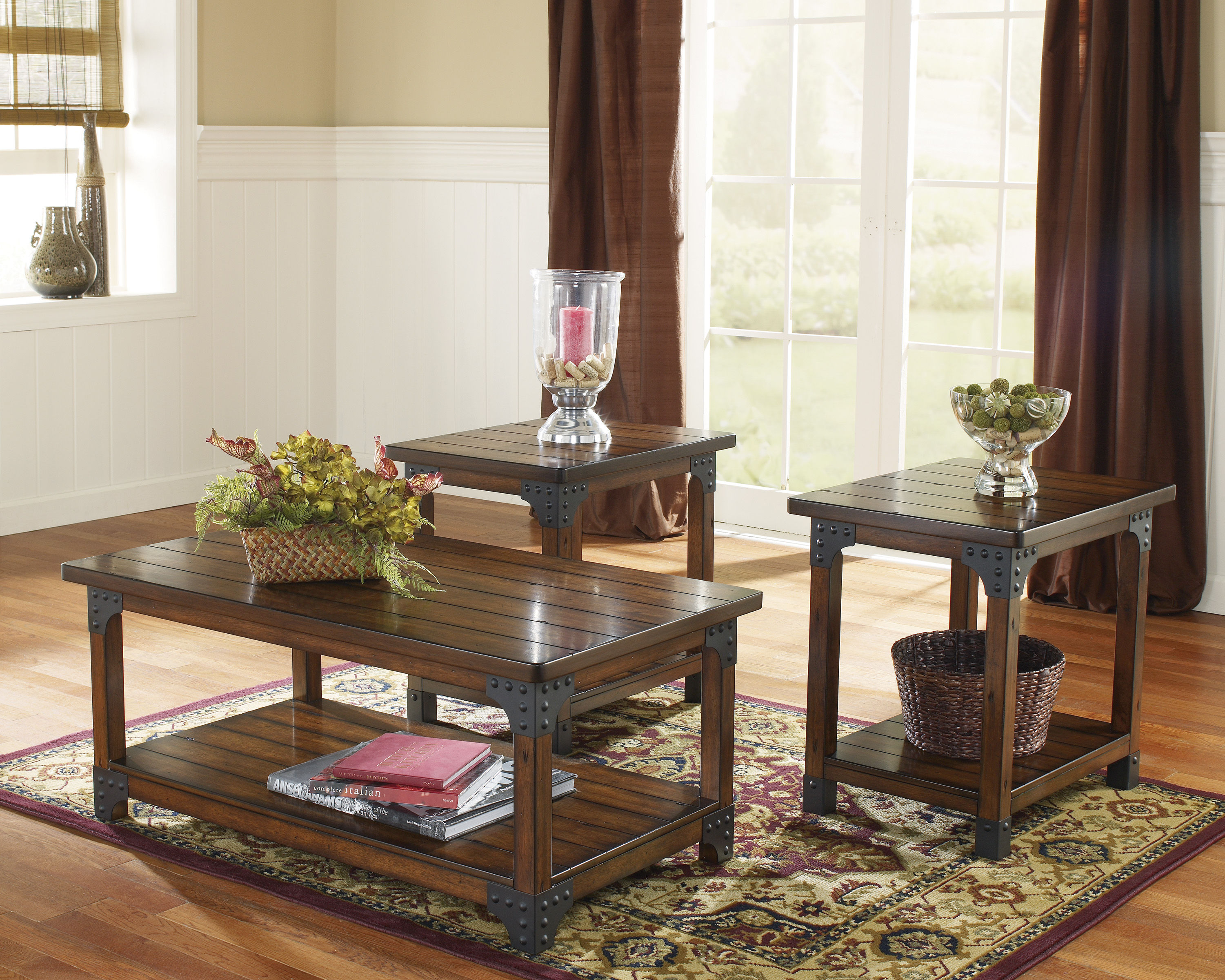 Ashley Furniture Murphy Medium Brown 3pc Coffee Table Set Click To Enlarge
