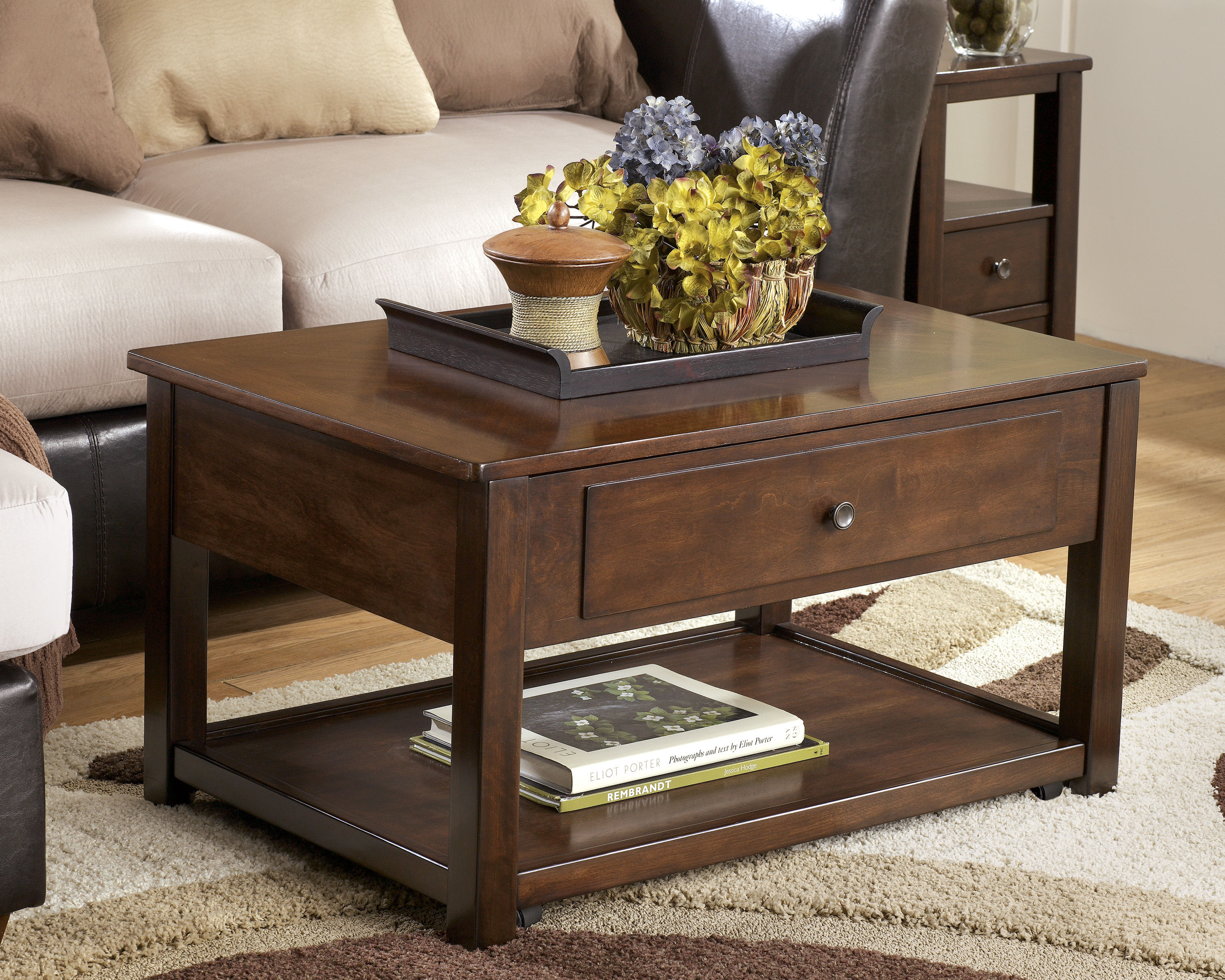 Ashley Furniture Marion Dark Brown Lift Top Tail Table Click To Enlarge