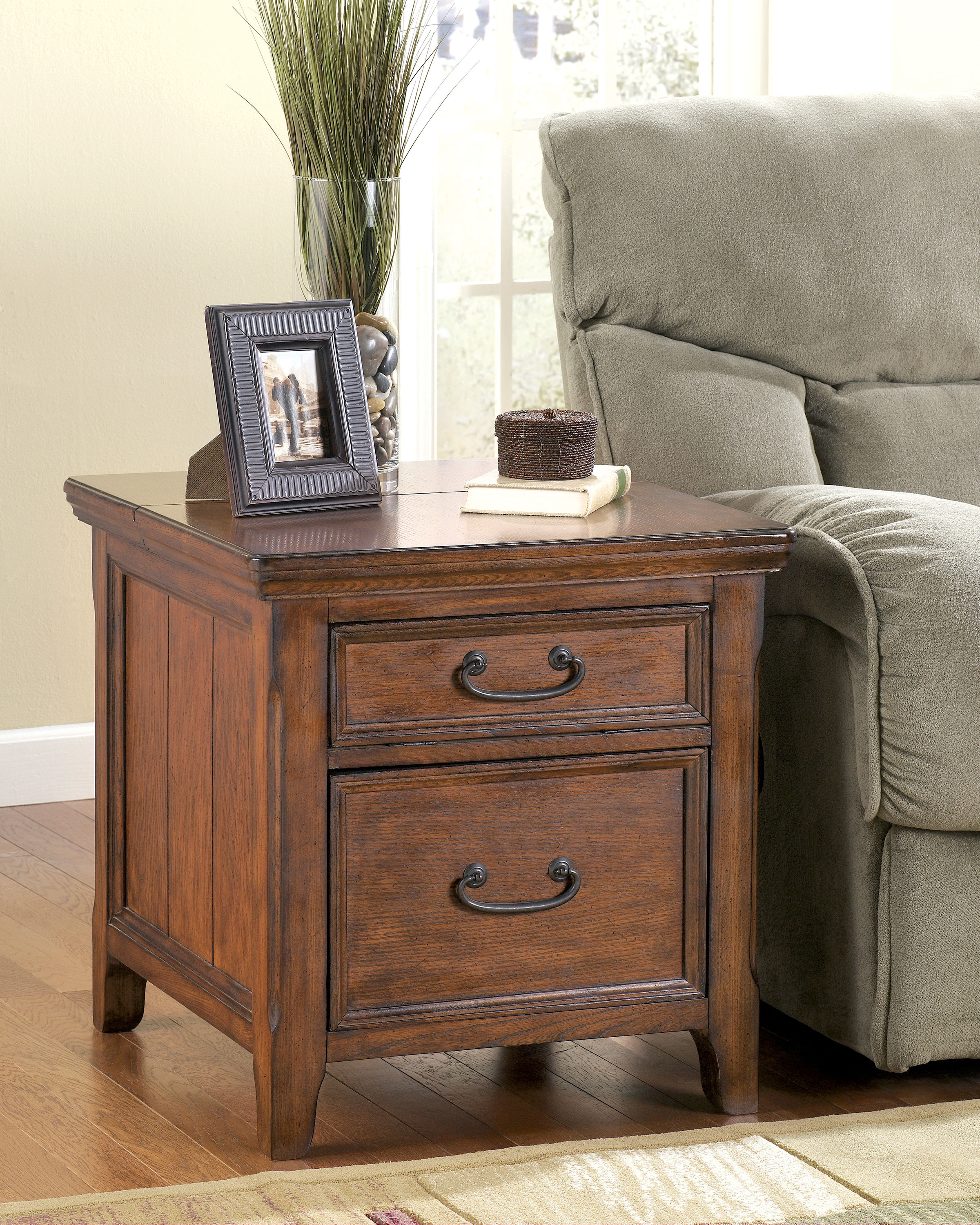 Ashley Furniture Woodboro End Table With File Cabinet Click To Enlarge