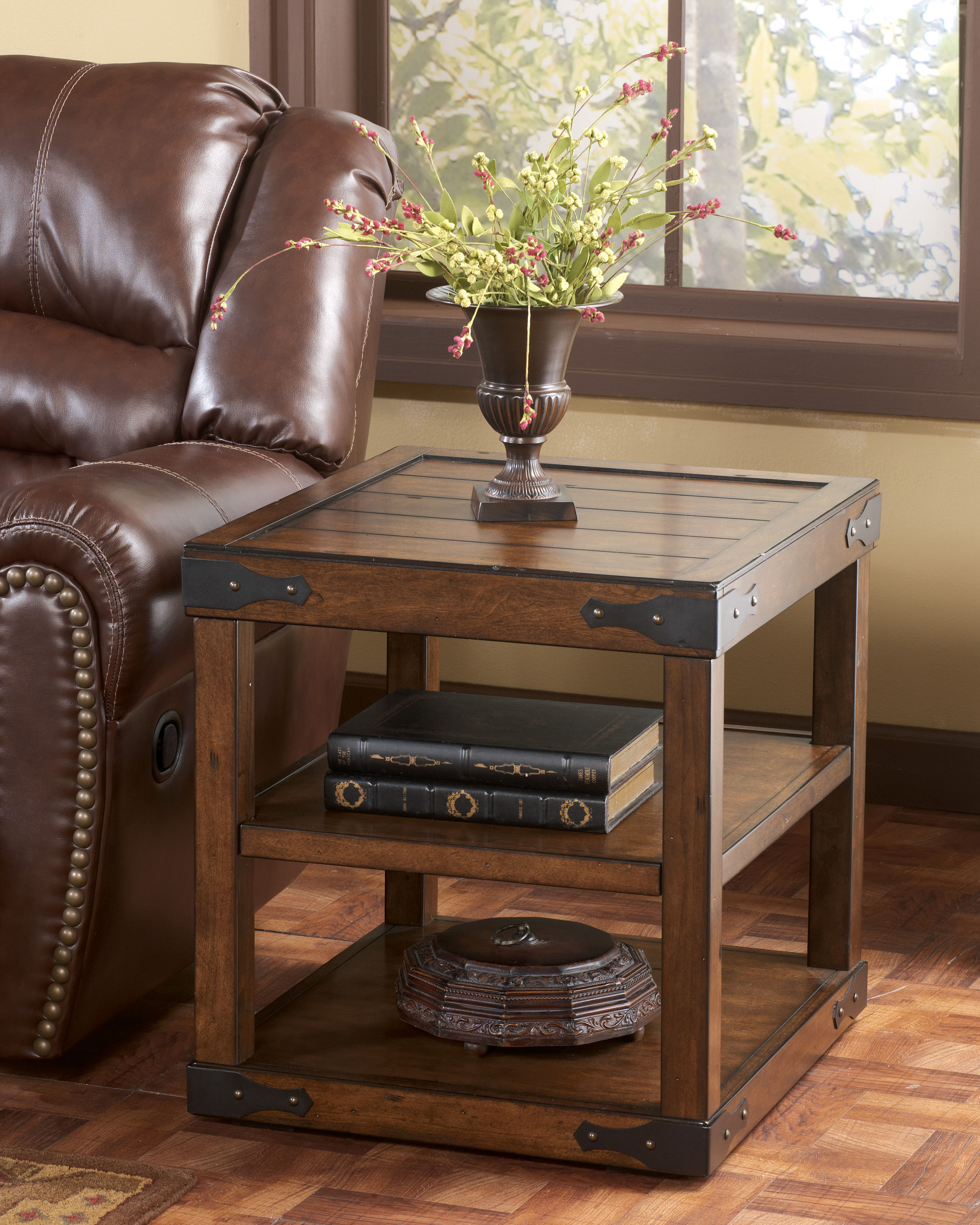 Shepherdsville traditional brown wood end table click to enlarge