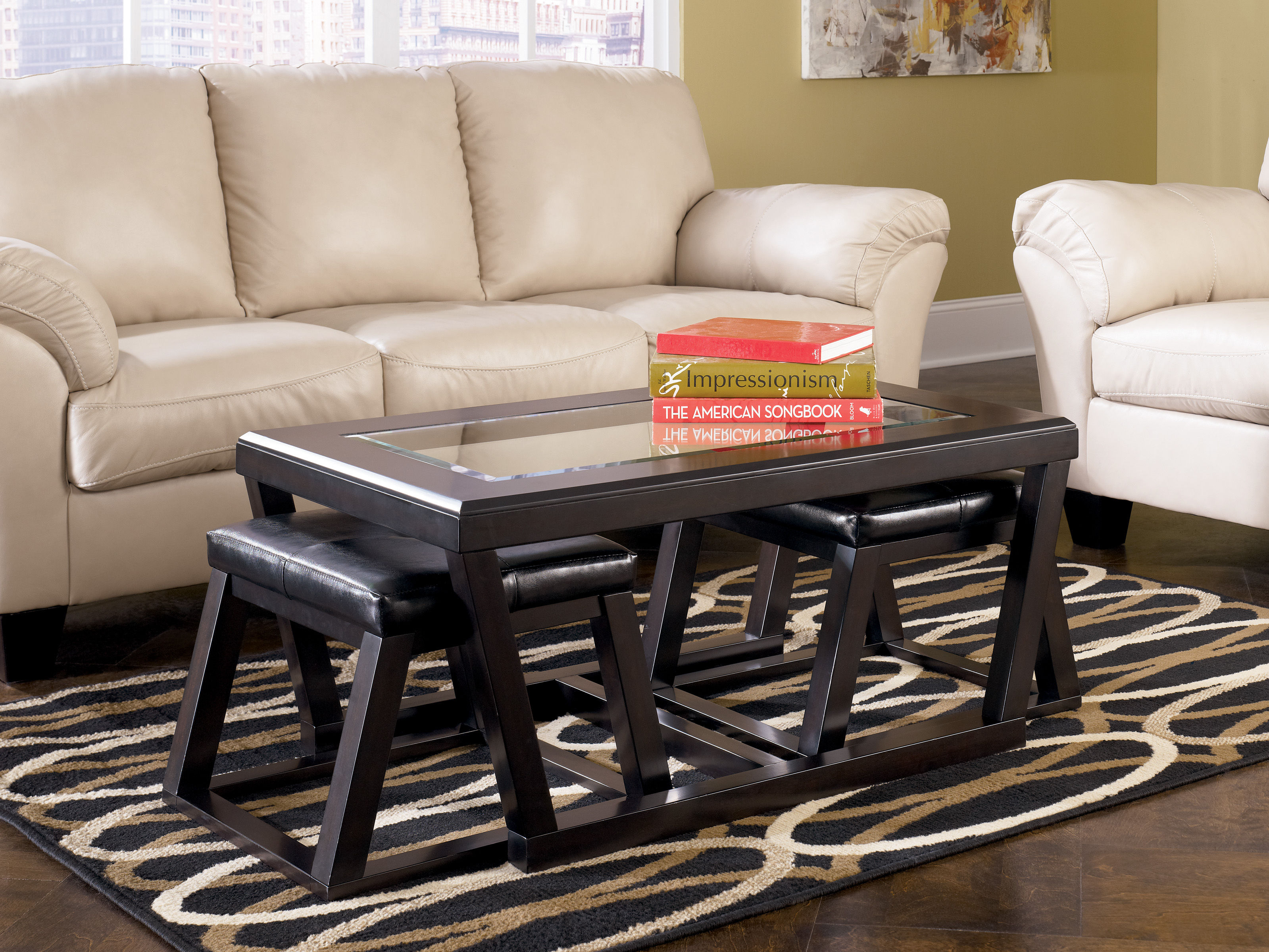 Ashley Furniture Kelton Espresso Cocktail Table With 2 Stools The Classy Home