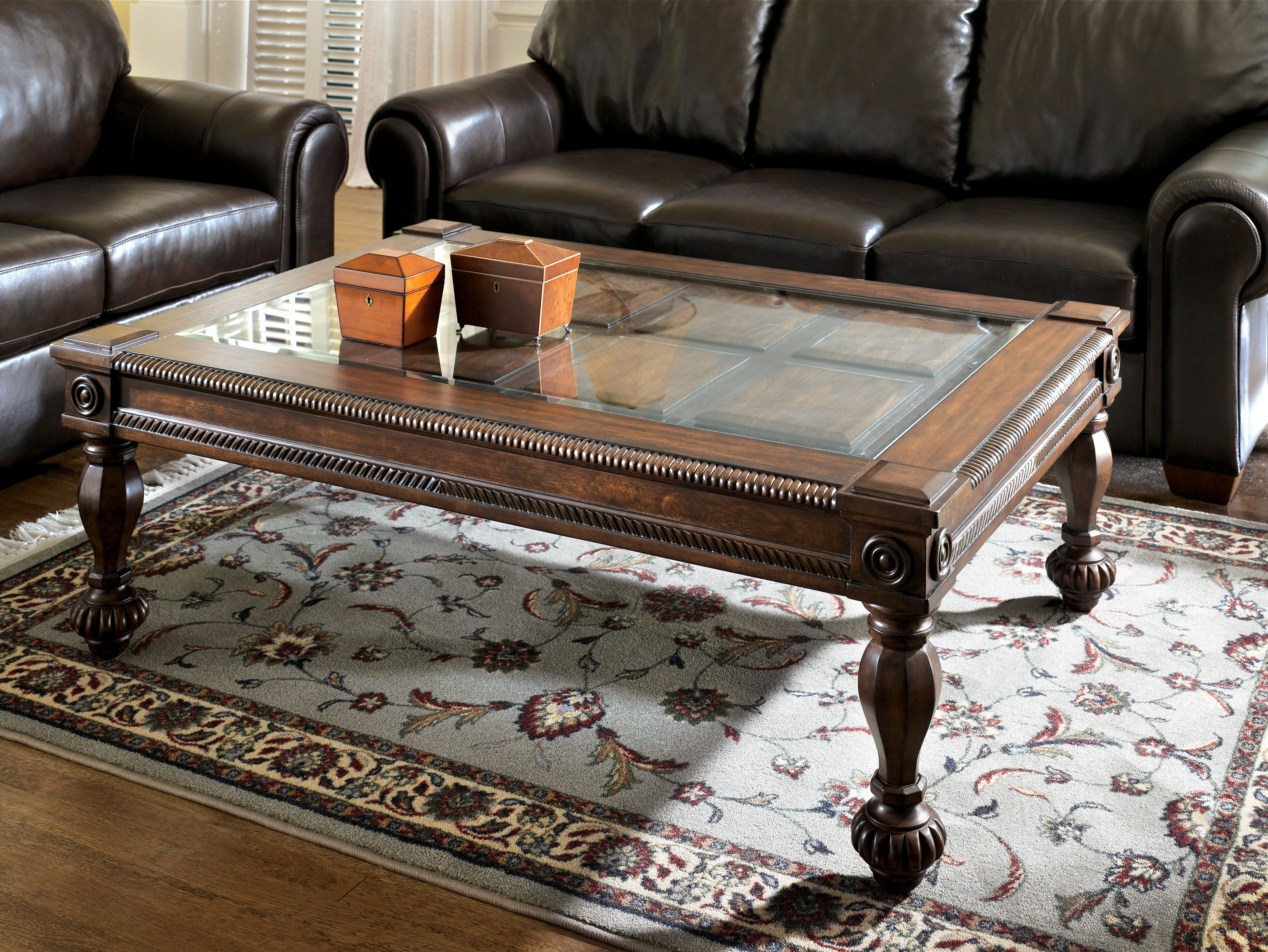 mantera traditional dark brown wood glass 4pc coffee table set