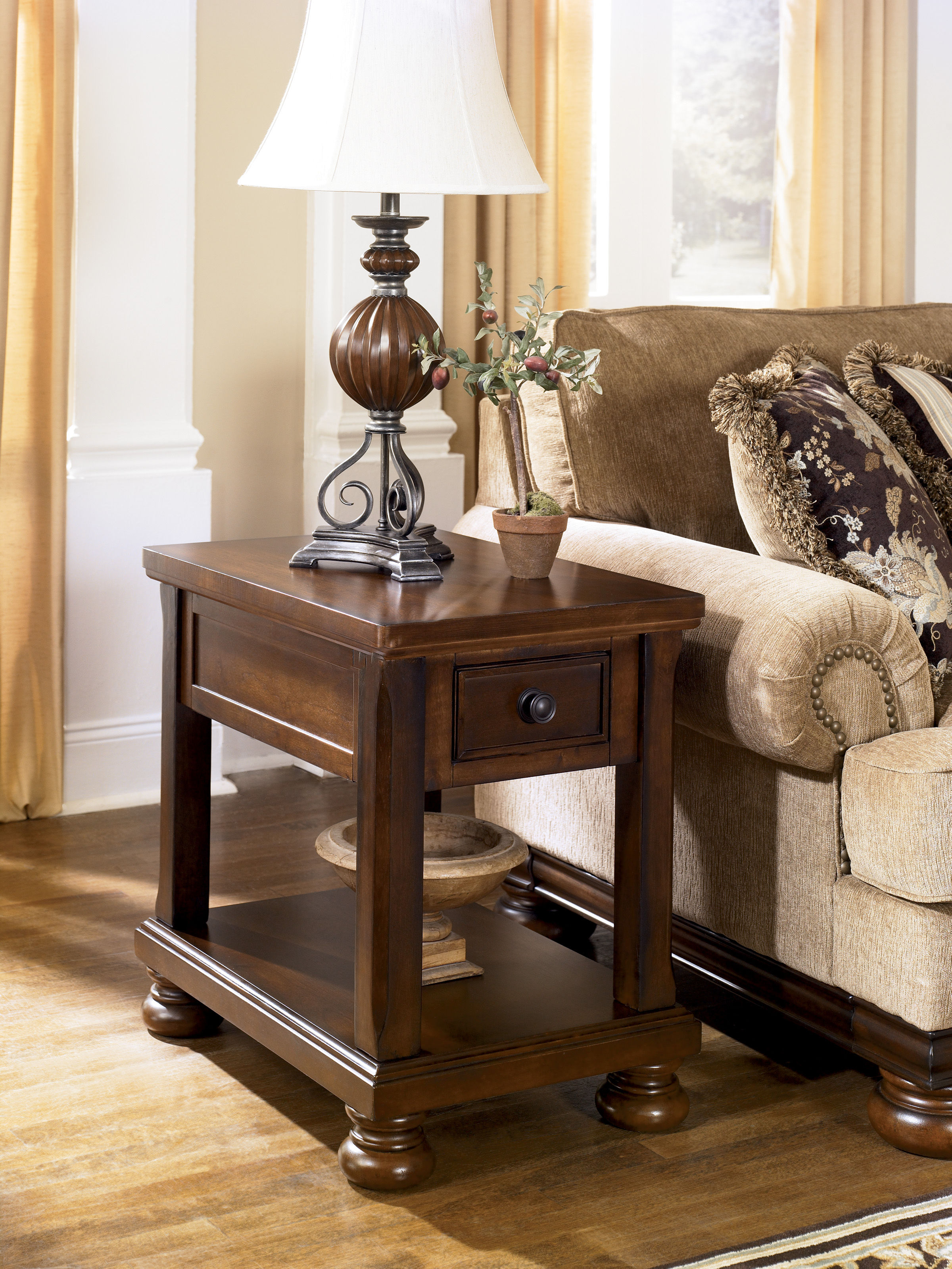 Ashley Furniture Porter Brown Chair Side Table | The Classy Home