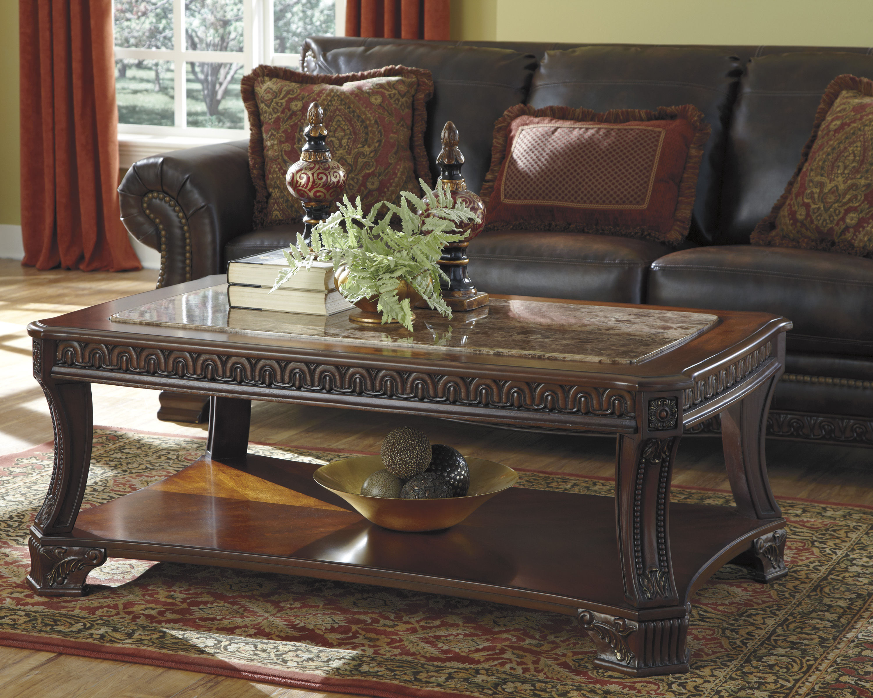 ledelle traditional brown wood marble 3pc coffee table set