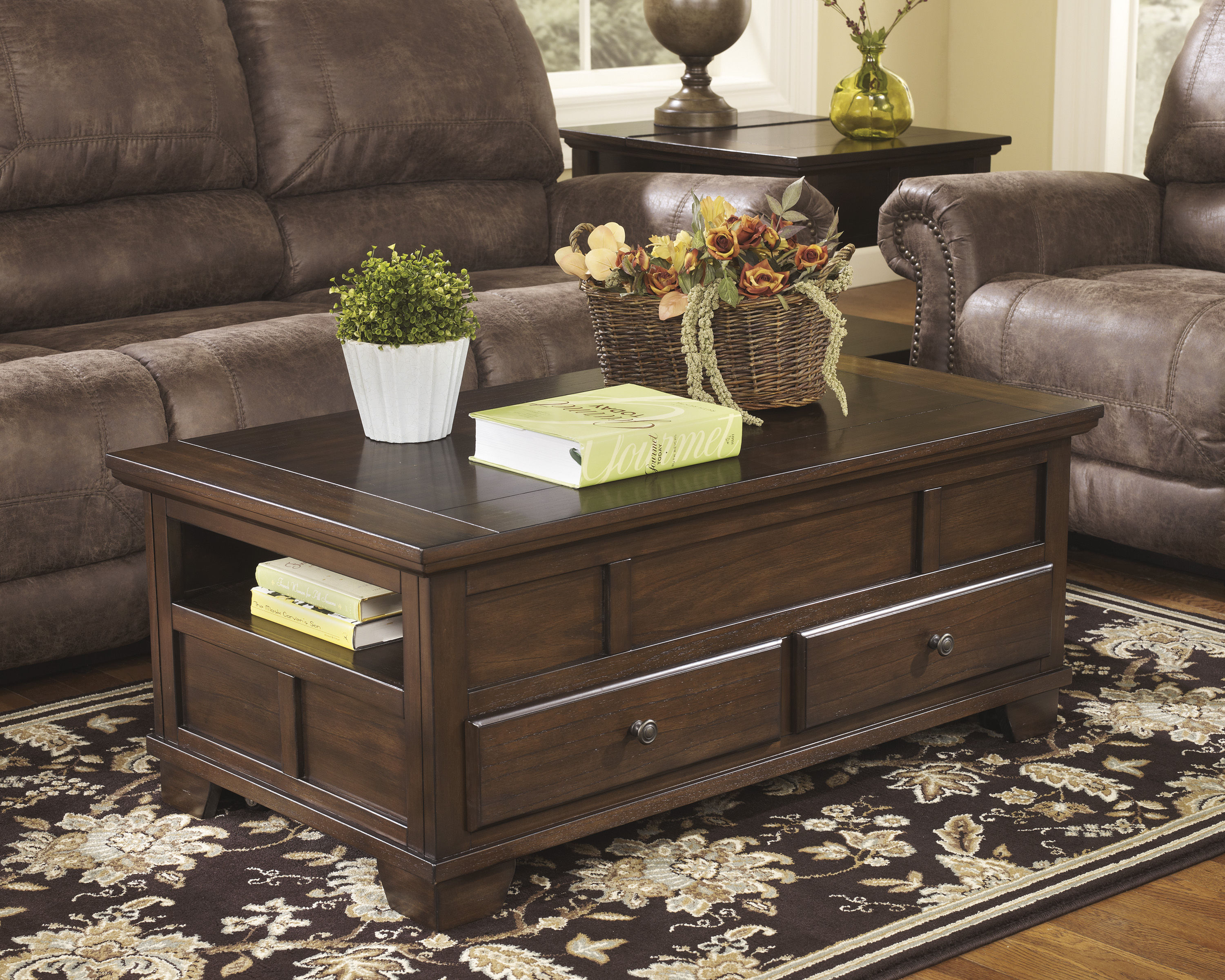 Ashley Furniture Gately Brown Lift Top Tail Table Click To Enlarge
